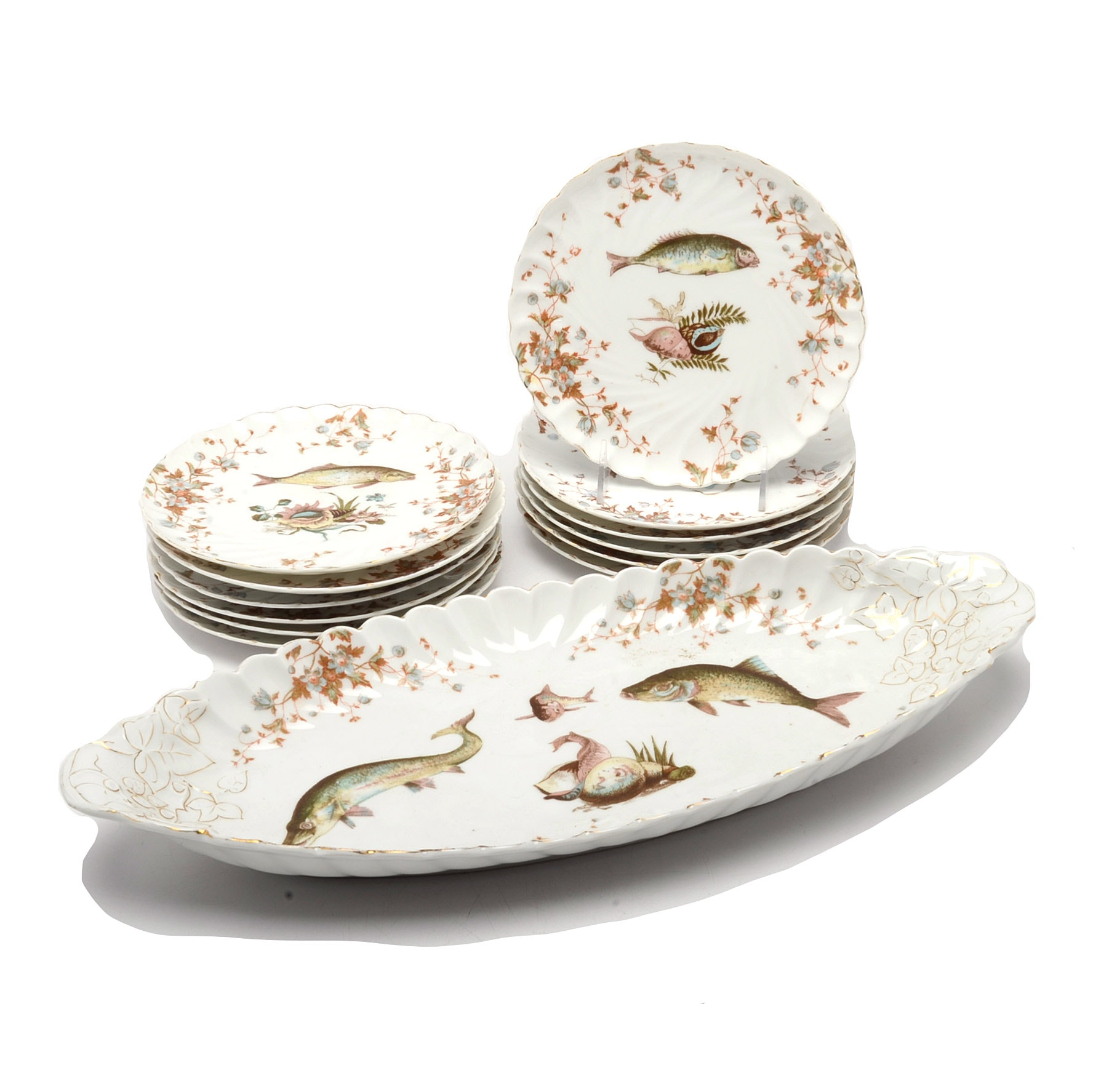 Lewis Strauss & Sons Porcelain Serving Platter and Dessert Plates