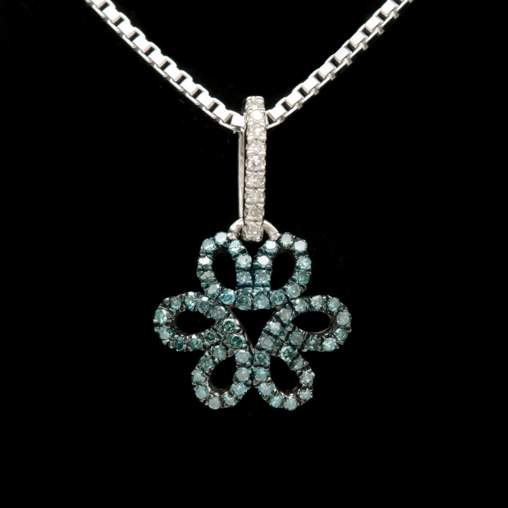 Sterling Silver, Treated Blue and White Diamond Pendant with Chain
