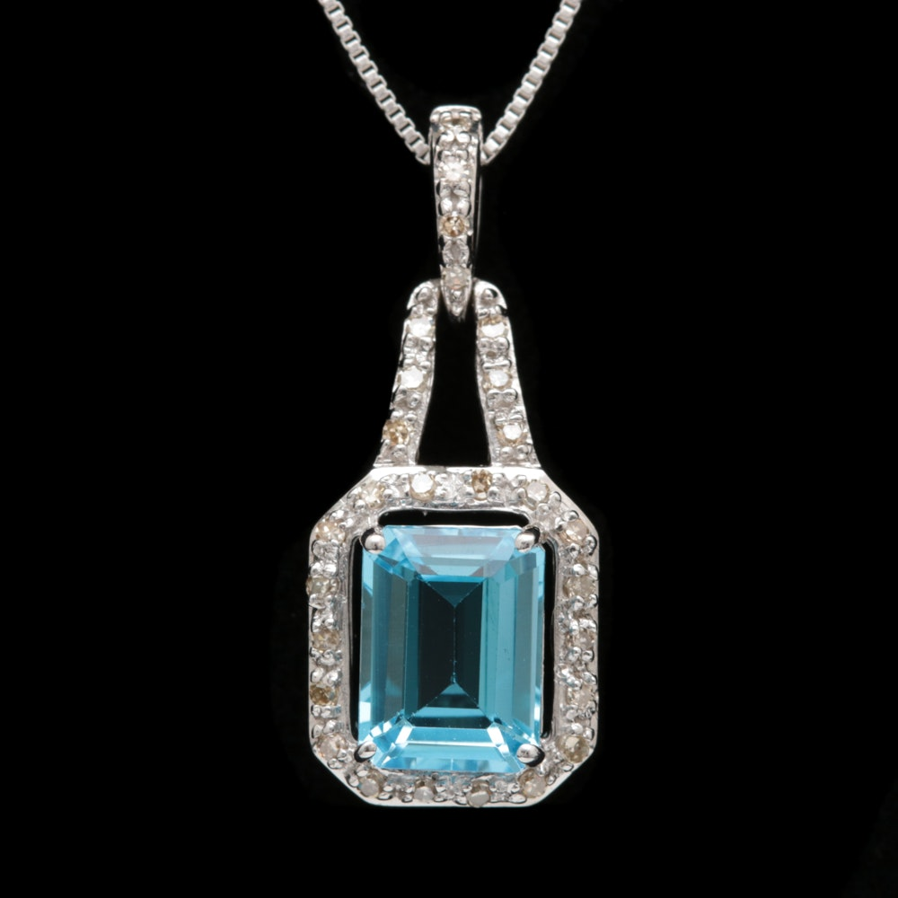 Sterling Silver, Blue Topaz and Diamond Pendant with Chain