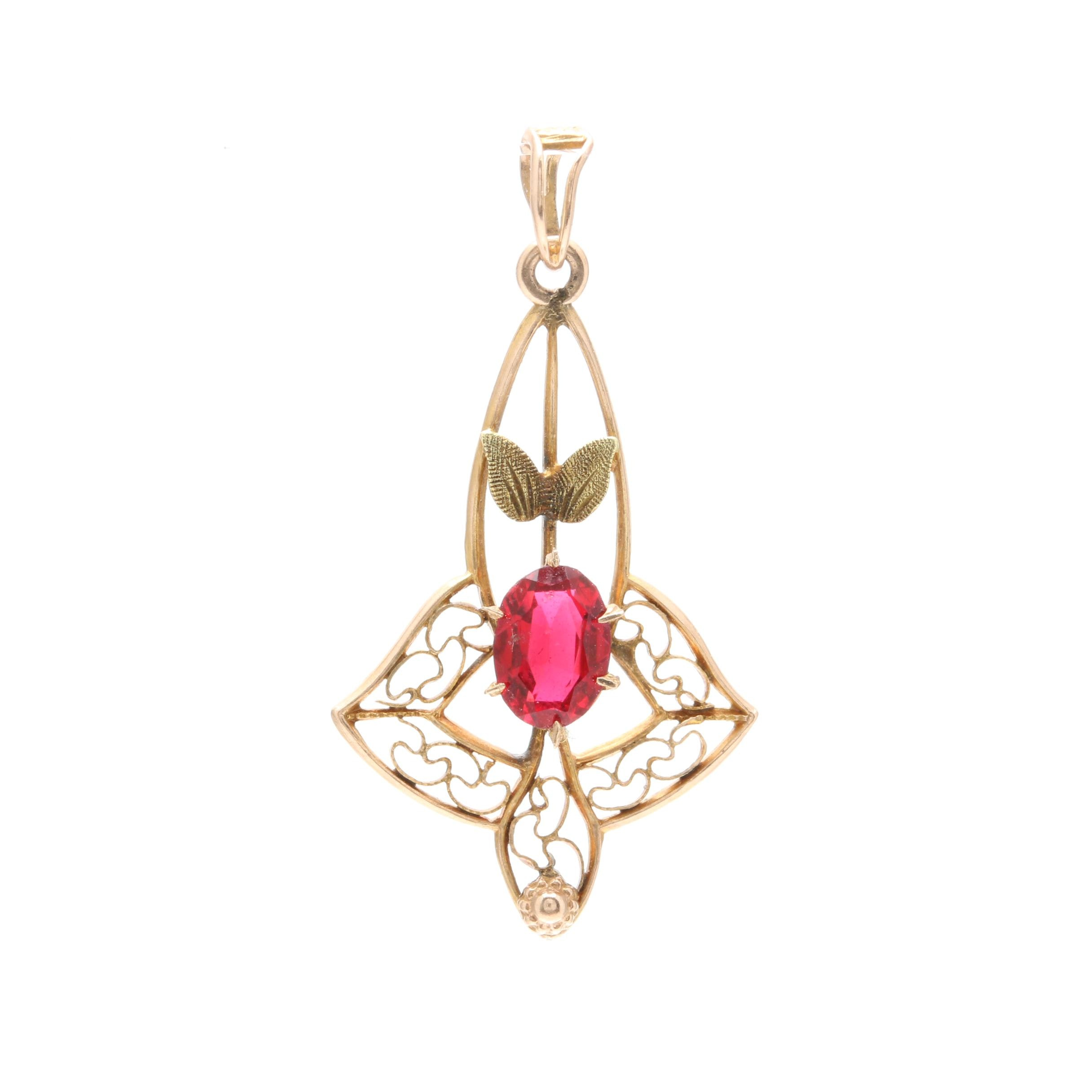 Arts and Crafts 10K Yellow Gold Glass Lavalier Pendant