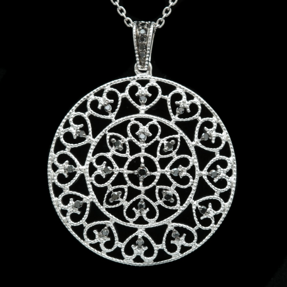 Sterling Silver and Black Diamond Pendant with Chain
