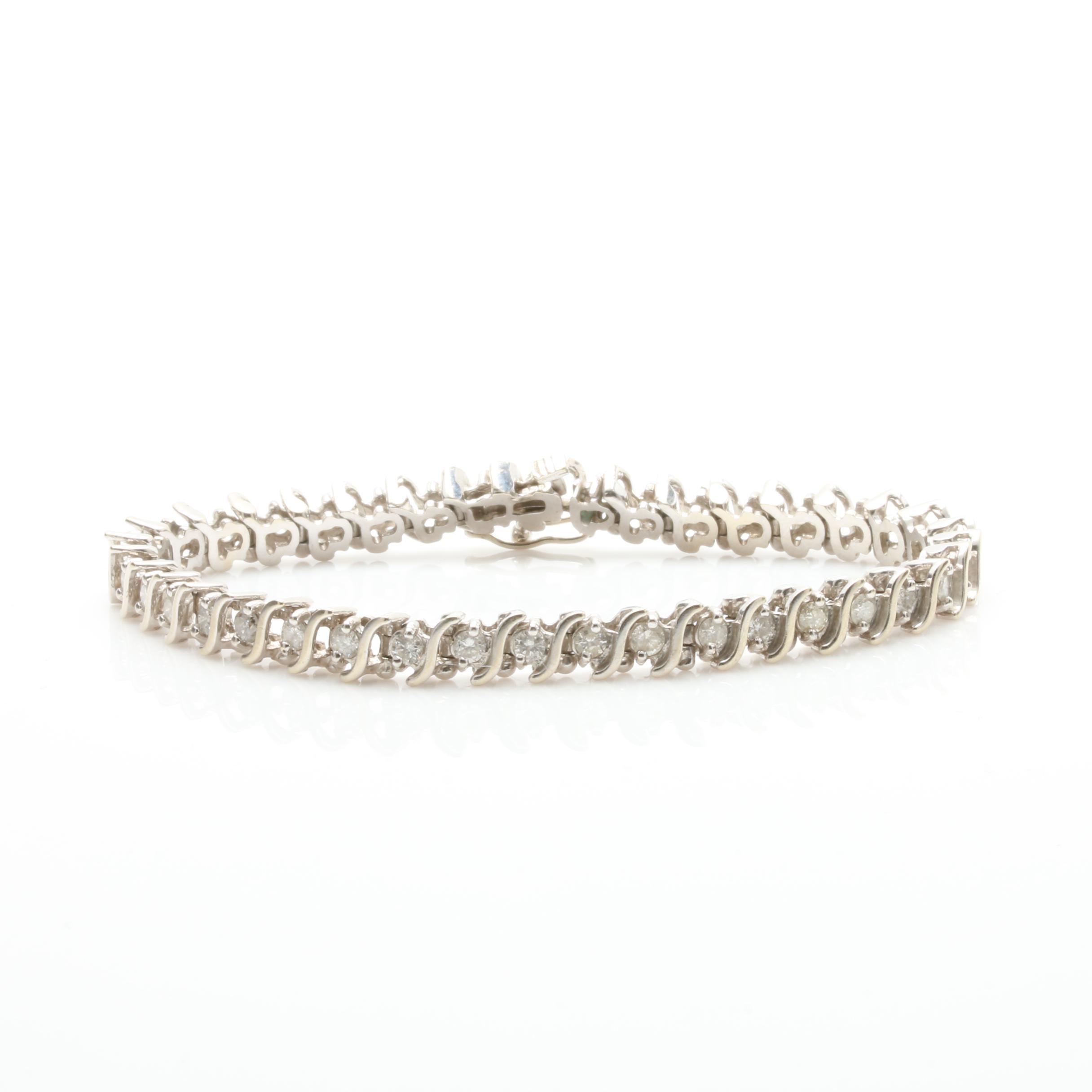 14K White Gold 2.31 CTW Diamond Tennis Bracelet