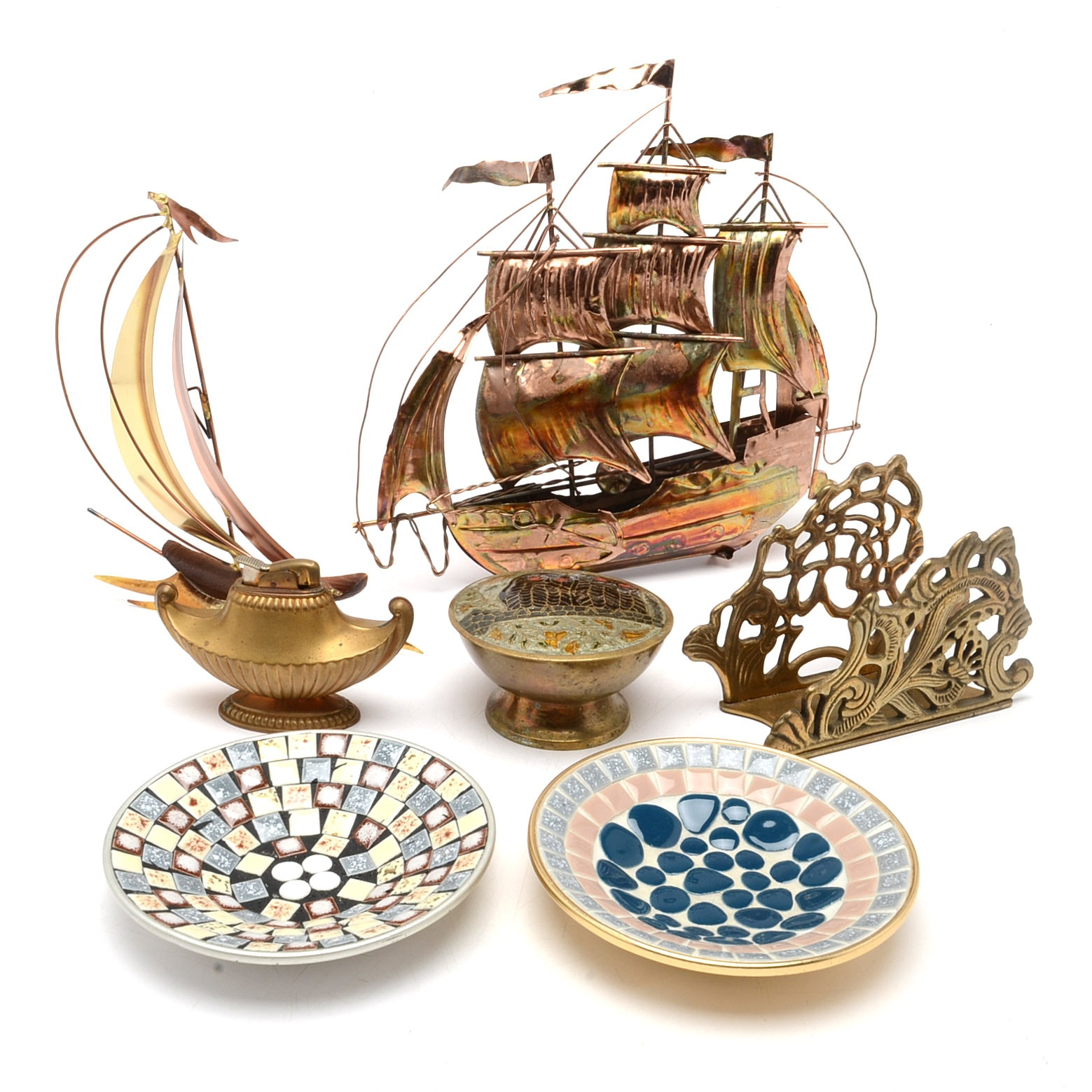 Collection of Metal Decoratives and Mosaic Trinket Dishes