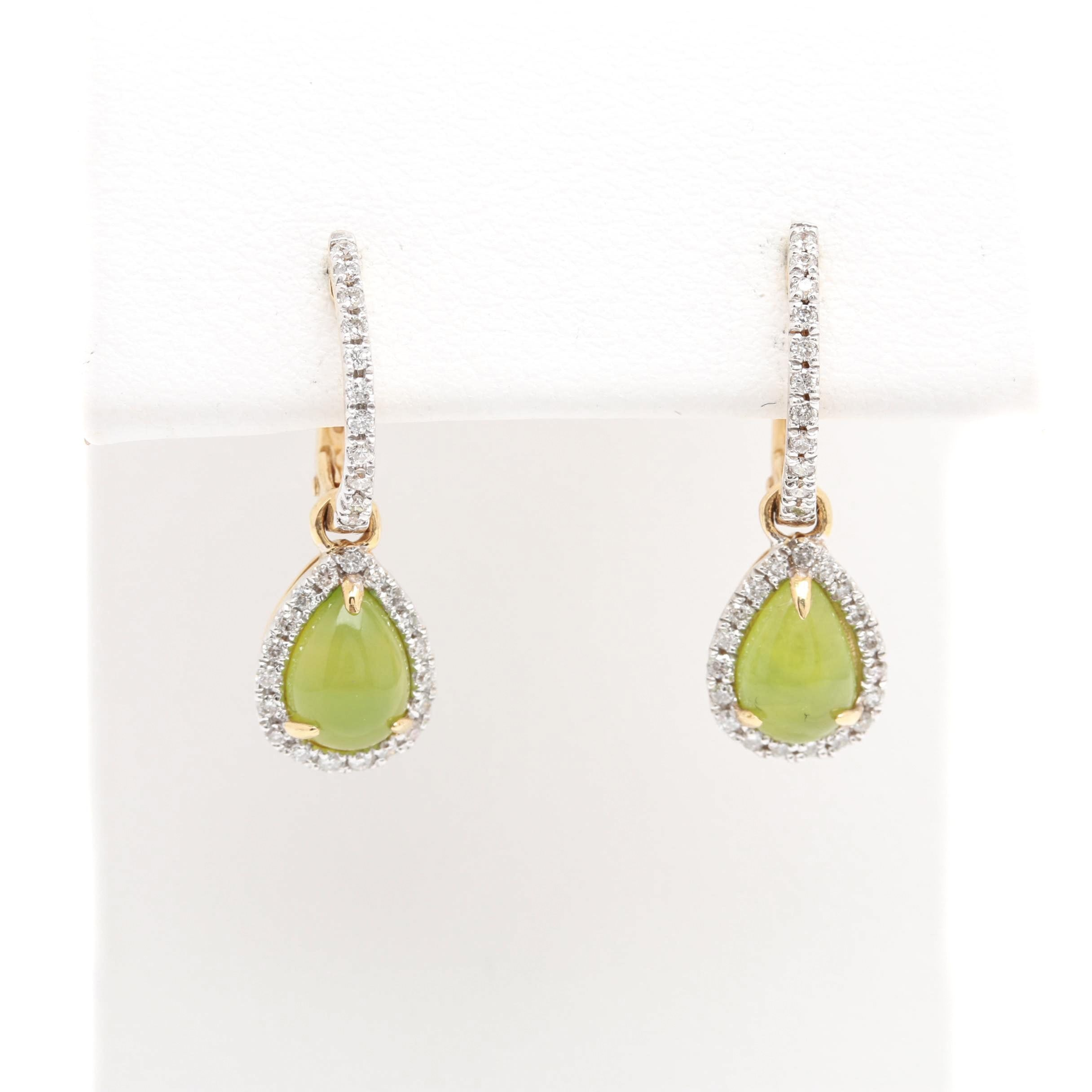 18K Yellow Gold Green Opal and Diamond Earrings