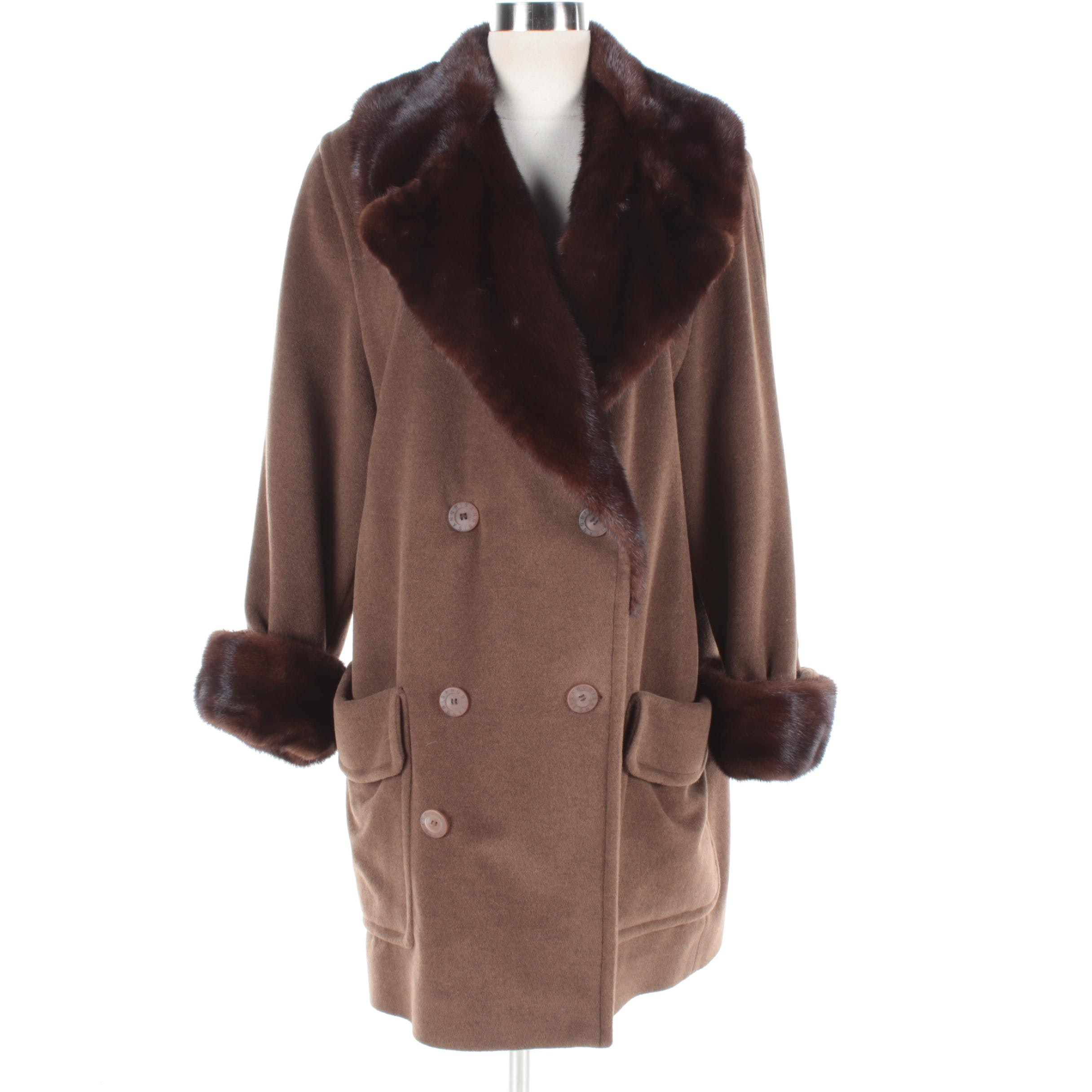 Bisang Couture Wool Coat with Mink Fur Trim