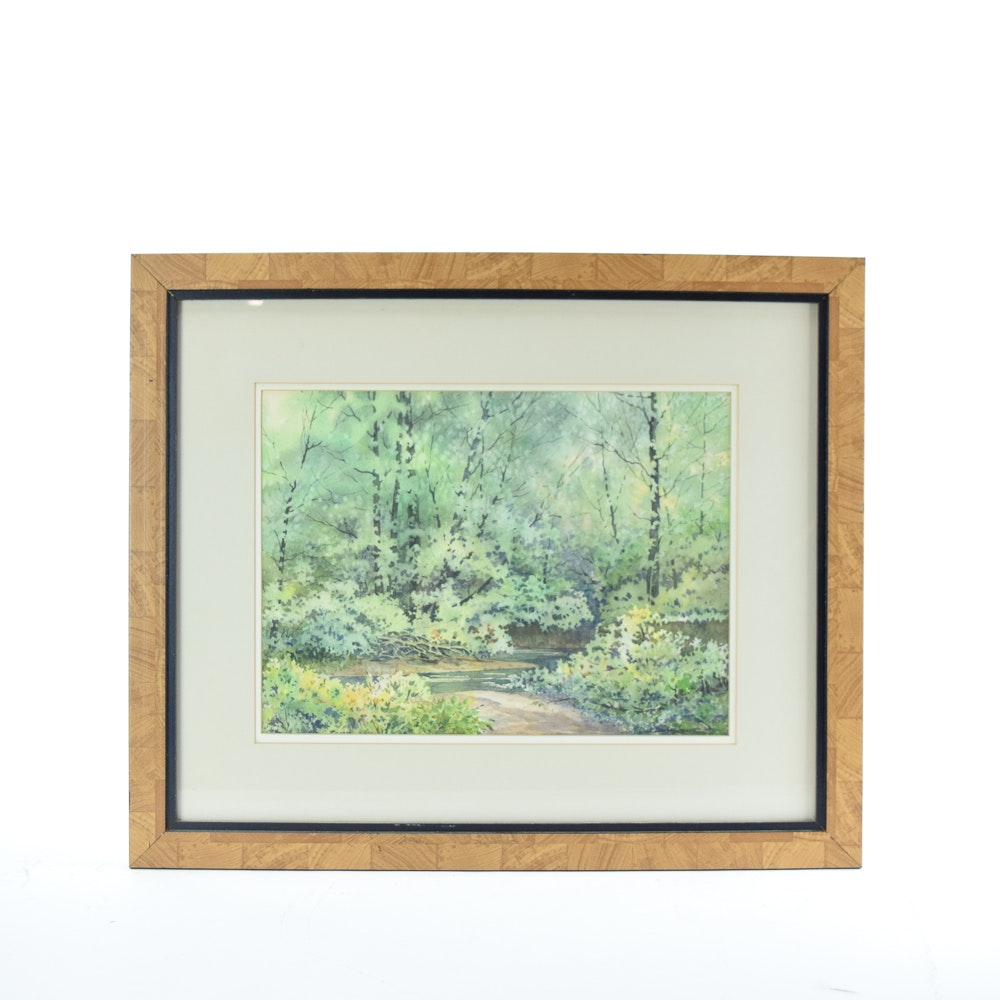 Lais Brown Sinnett Watercolor and Gouache Painting Forrest Scene