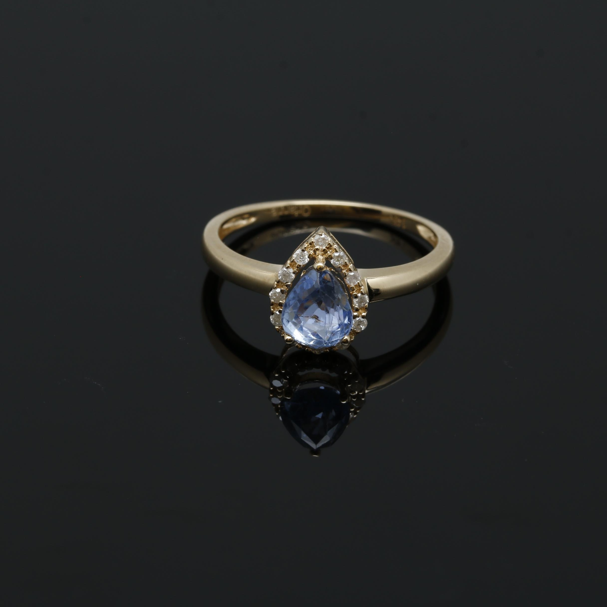 Orianne 14K Yellow Gold Sapphire and Diamond Ring