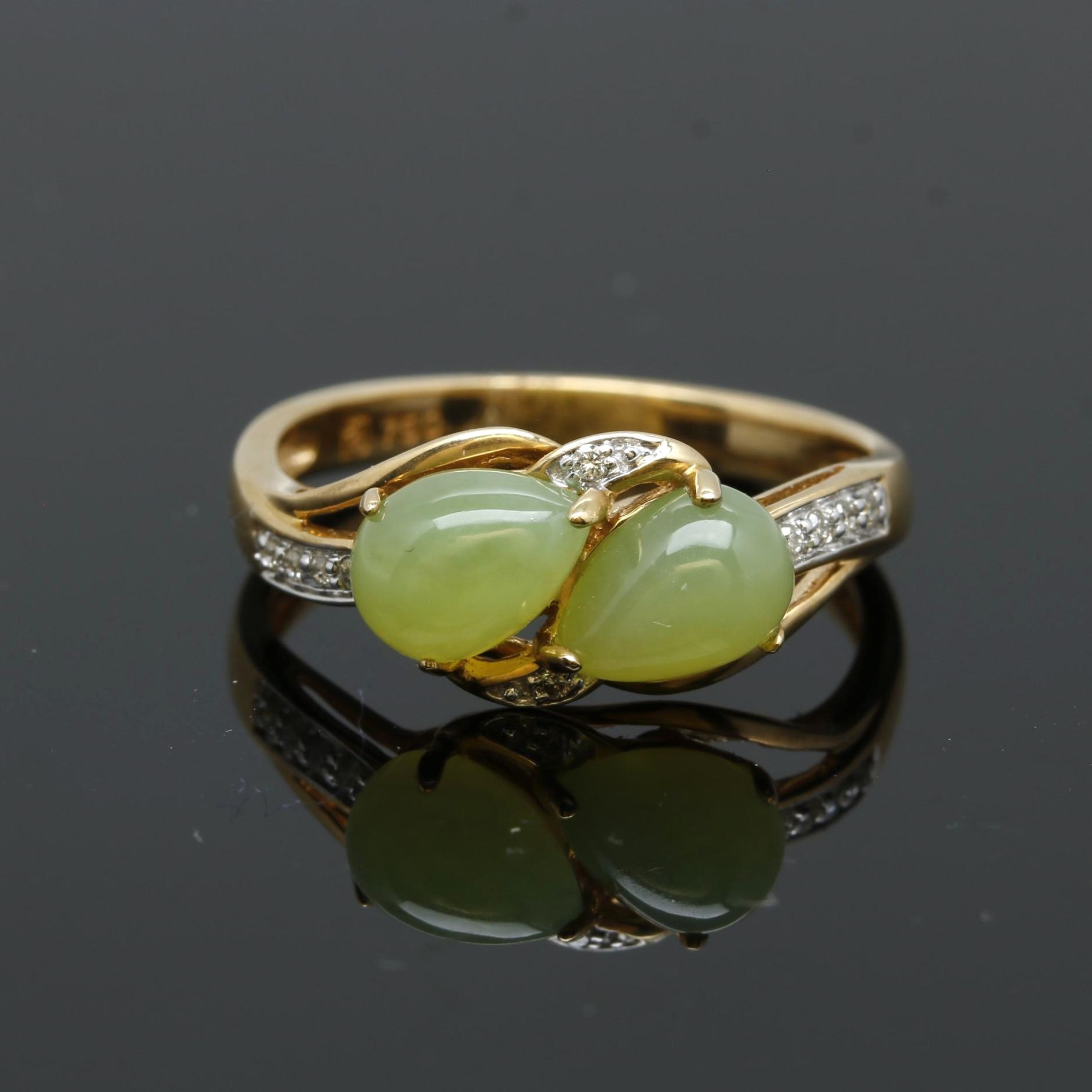18K Yellow Gold Green Opal and Diamond Ring