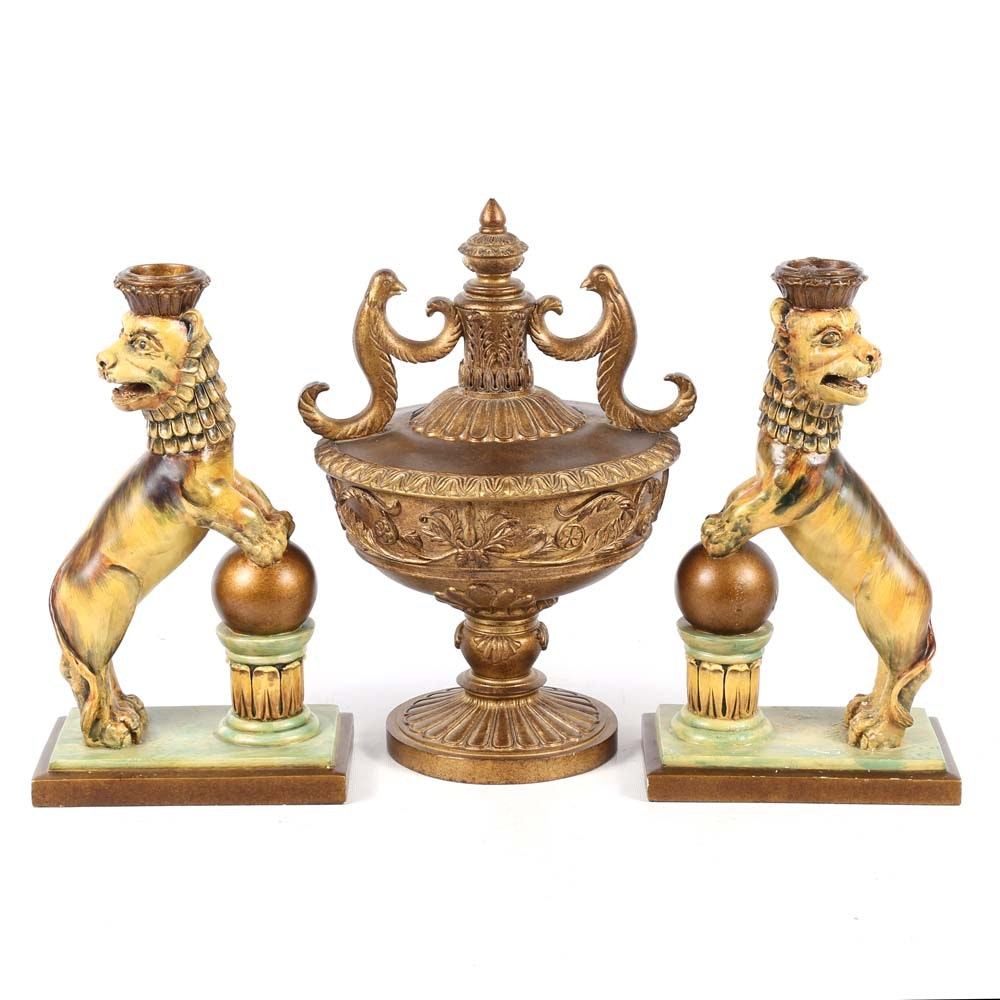 Neoclassical Inspired Lion Candle Holders and Covered Urn
