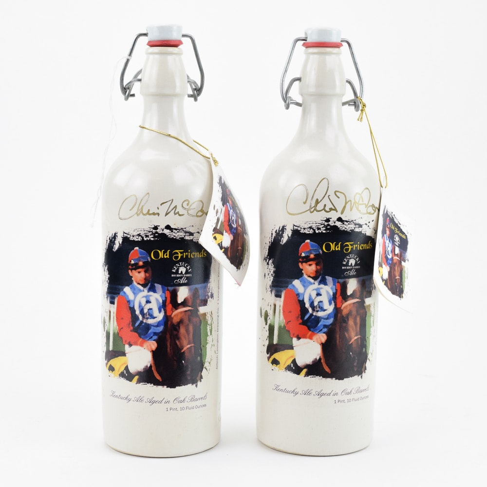 Jockey Chris McCarron Signed and Numbered Limited Edition Stoneware Beer Bottles