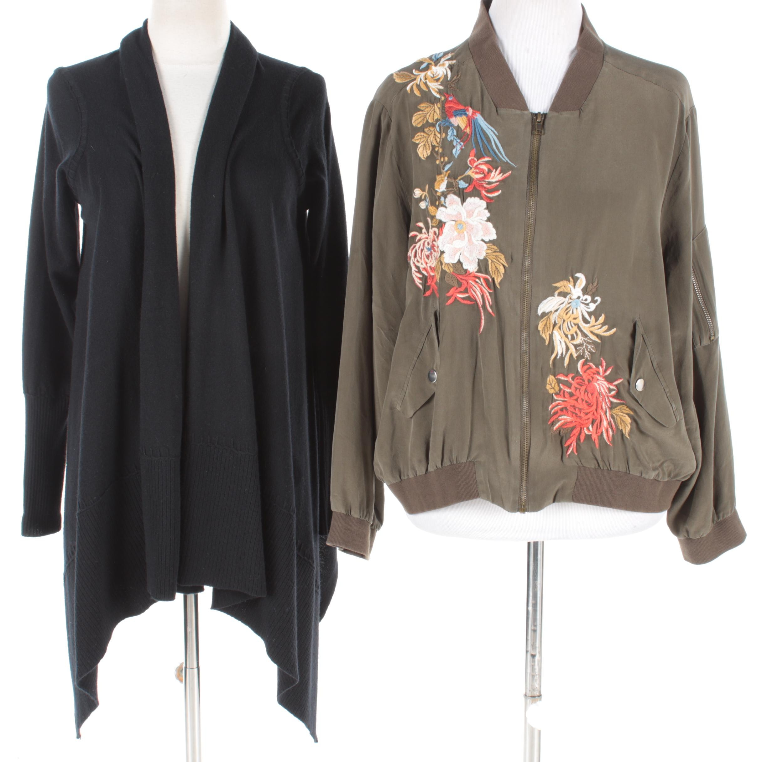 Women's Embroidered Zip-Up Jacket and Black Cashmere Open Front Cardigan