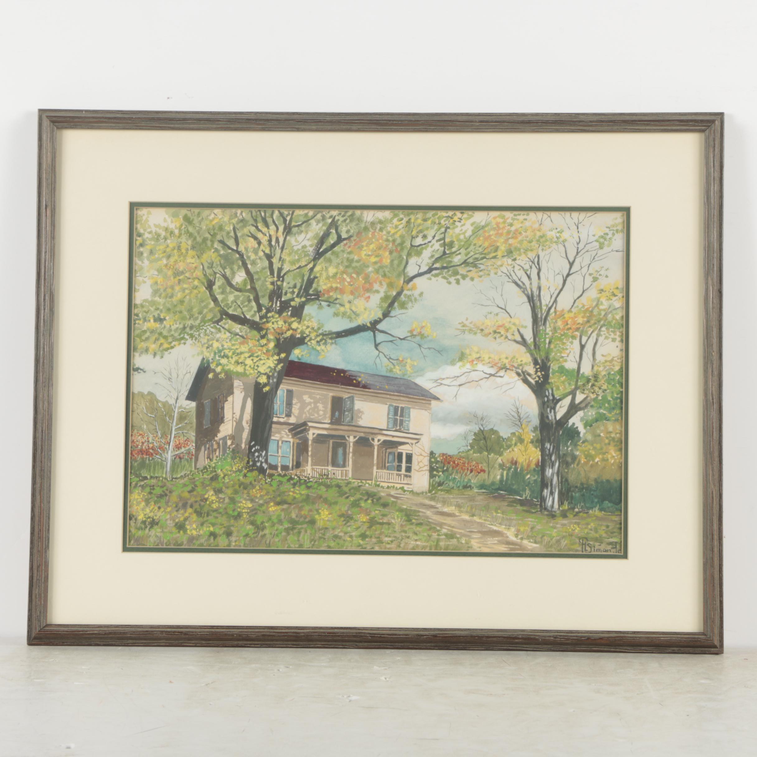 F.L. Simon Jr. Gouache Painting