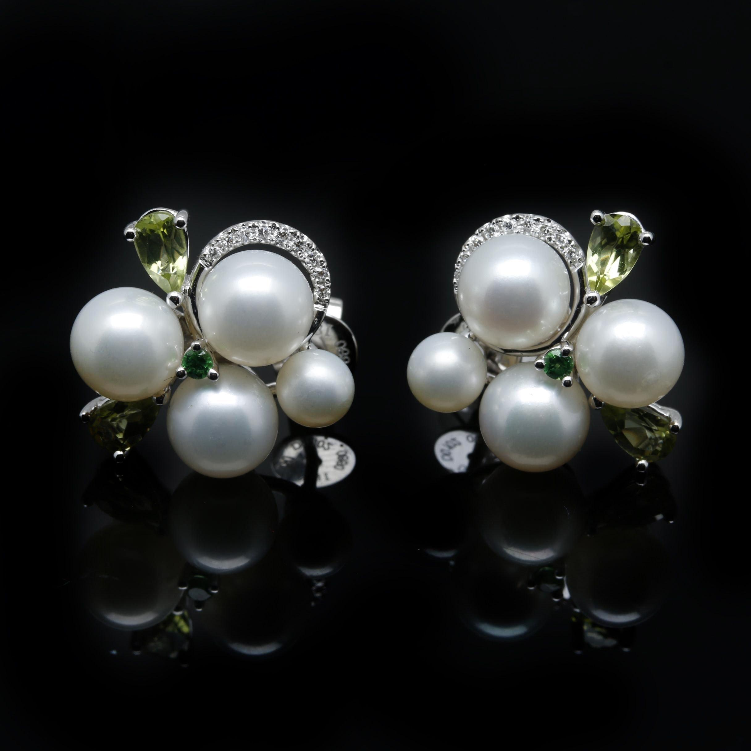 18K White Gold Diamond and Gemstone Cluster Earrings
