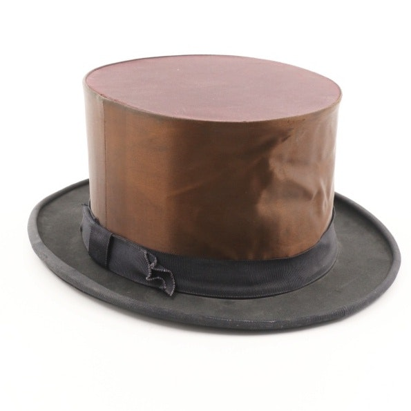 "Vintage R.F.N. Co. ""Formally Yours"" Collapsible Top Hat Trimmed in Grosgrain"