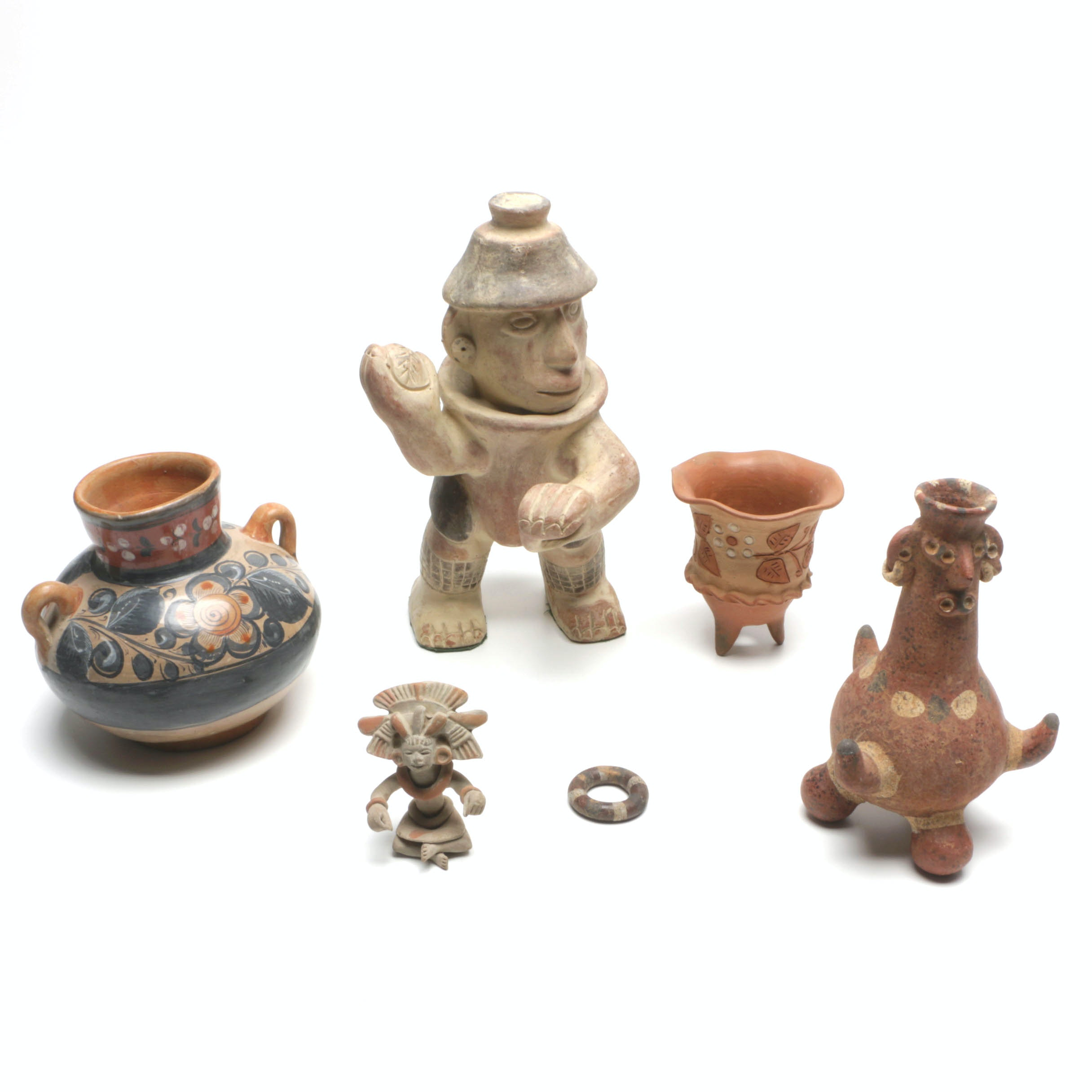 Mexican Pottery Including a Vase, Nayarit Style Figure and Mayan Style Figure