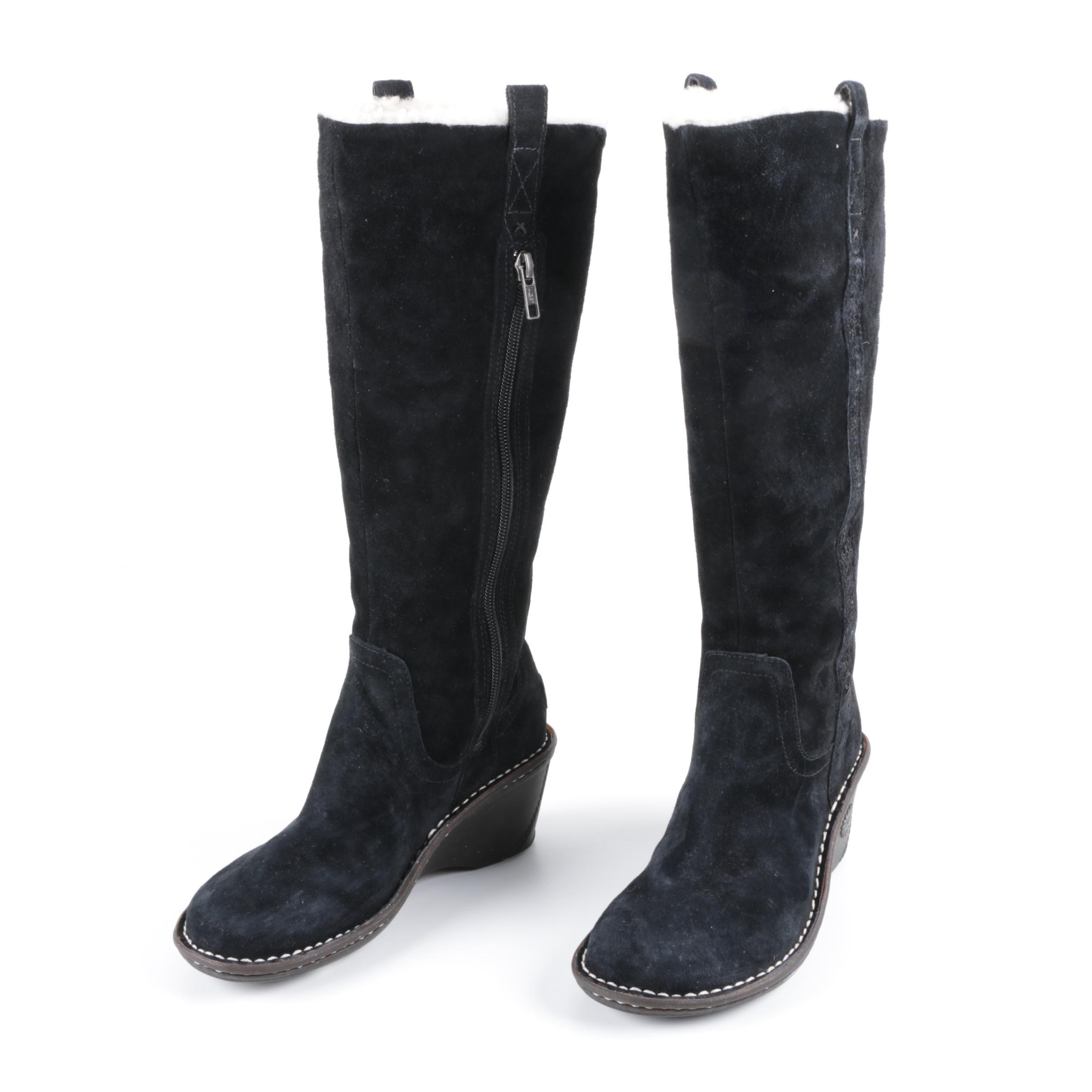 Ugg Australia Soleil Black Suede Wedge Boots