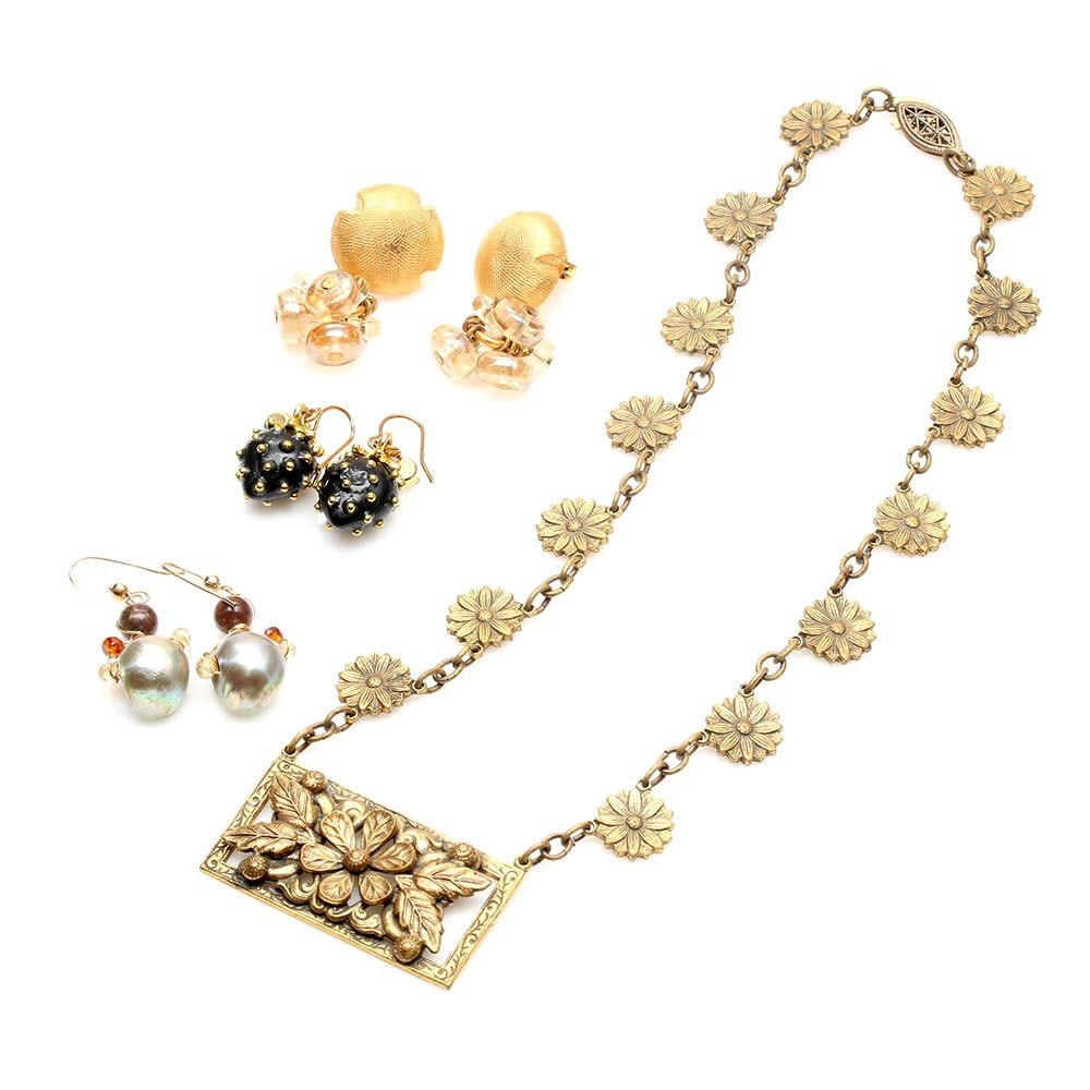 Costume and Gemstone Earrings Including Celia Landman