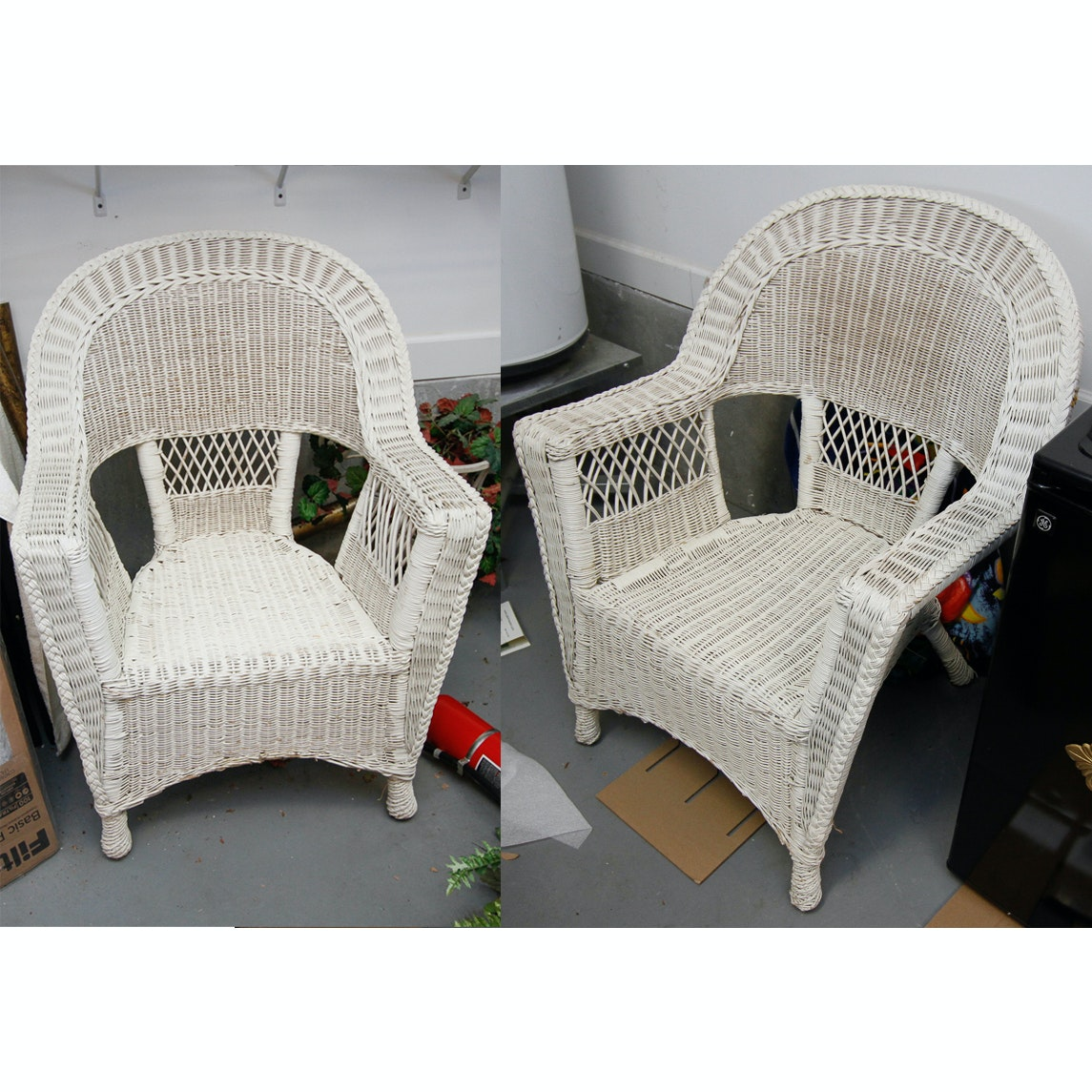 White Wicker Patio Armchairs
