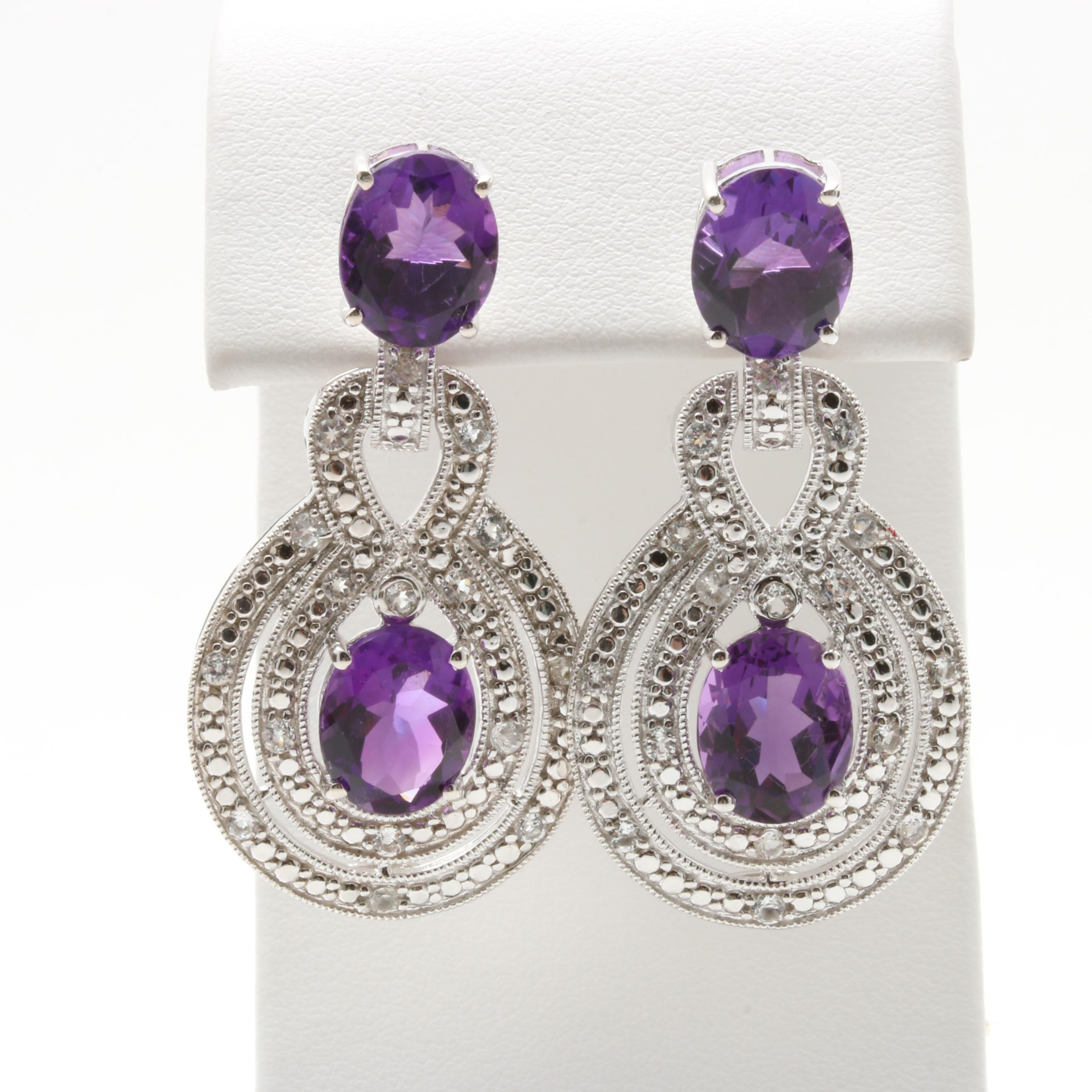 Sterling Silver Amethyst and White Topaz Drop Earrings