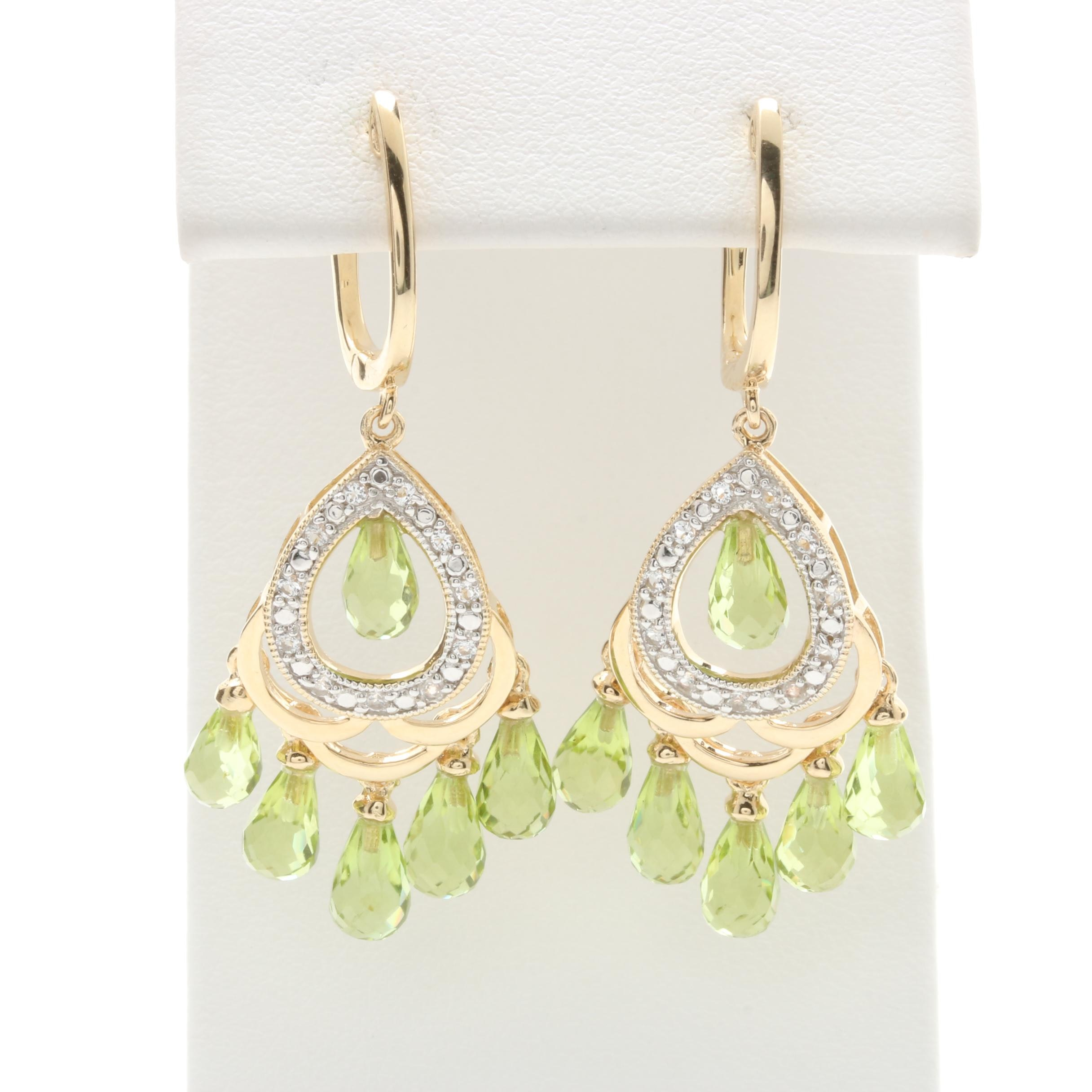 Orianne Gold Wash on Sterling Silver Peridot and White Topaz Chandelier Earrings