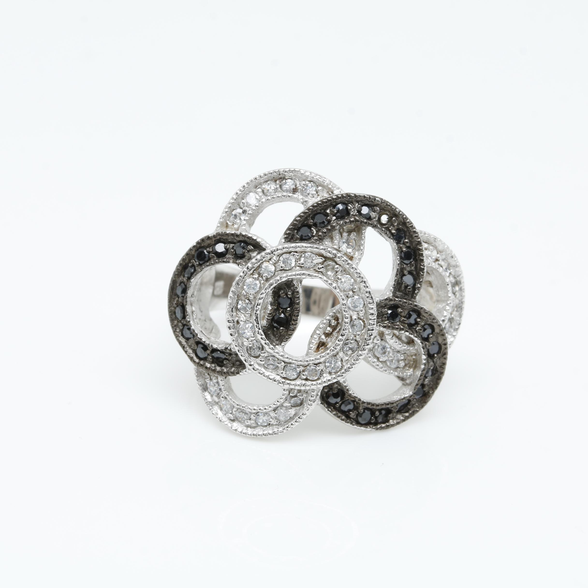 Sterling Silver White and Black Cubic Zirconia Ring