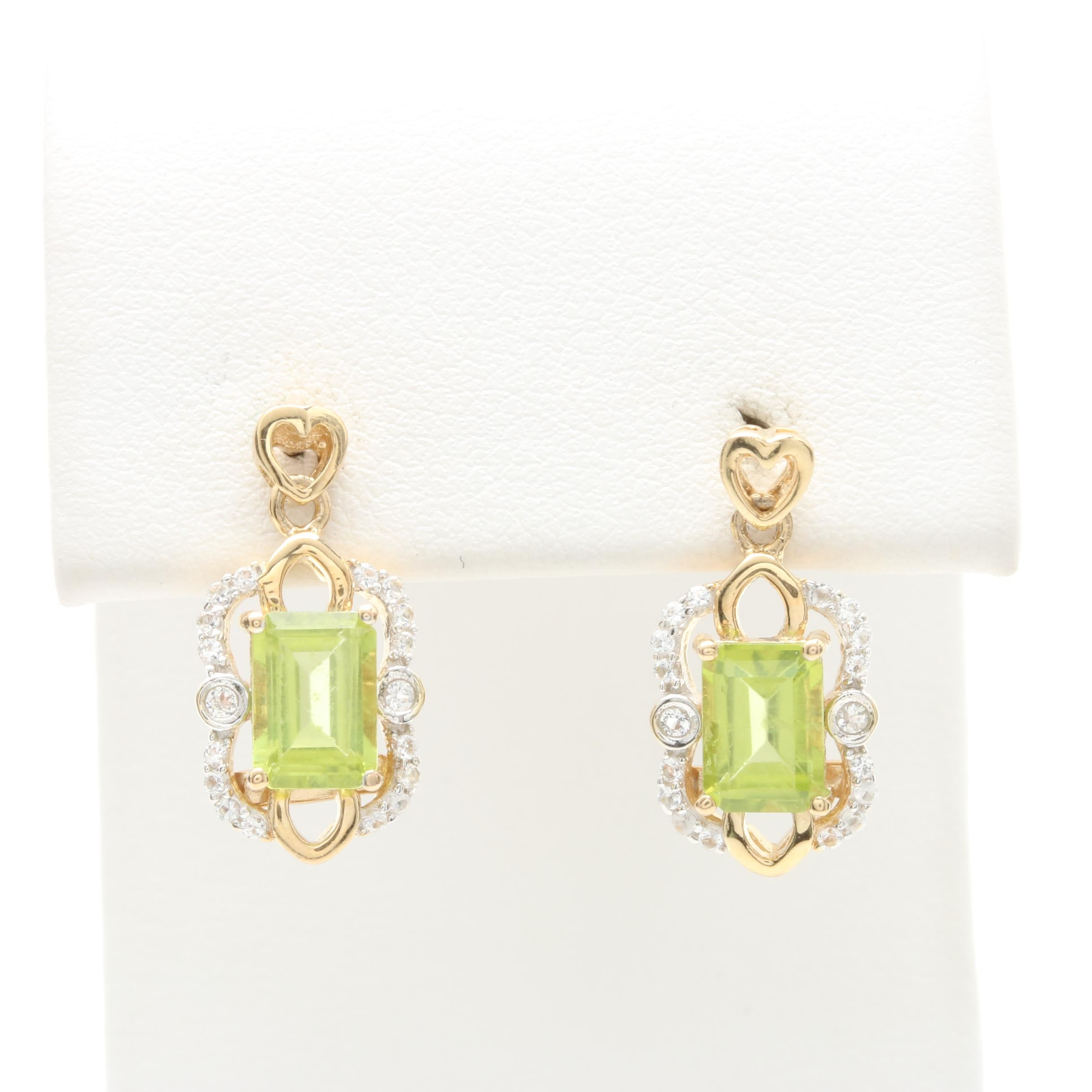 Orianne Gold Wash on Sterling Silver Peridot and White Topaz Earrings