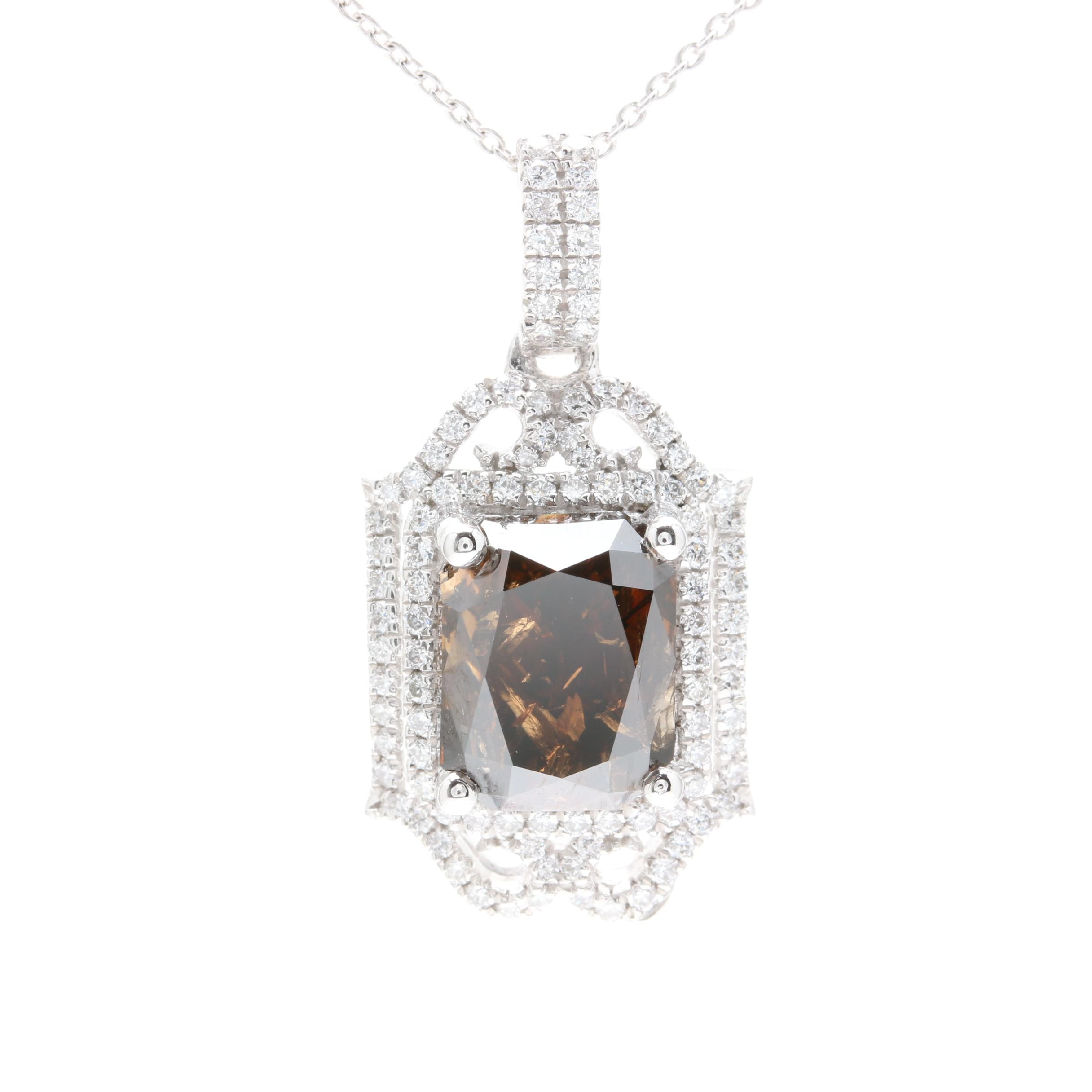 Platinum 5.70 CTW Diamond Pendant Necklace Including GIA Certificate