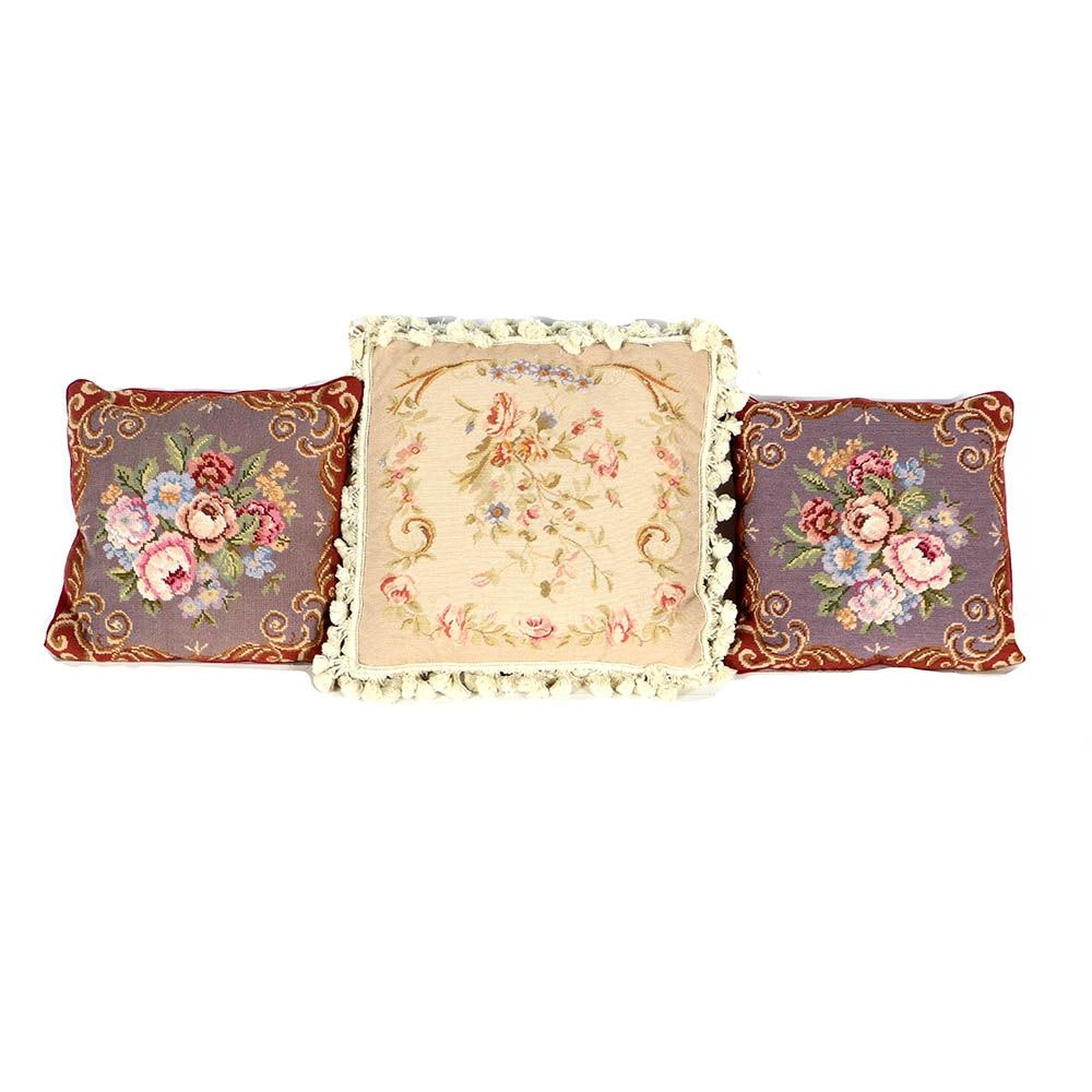 Floral Needlepoint Accent Pillows