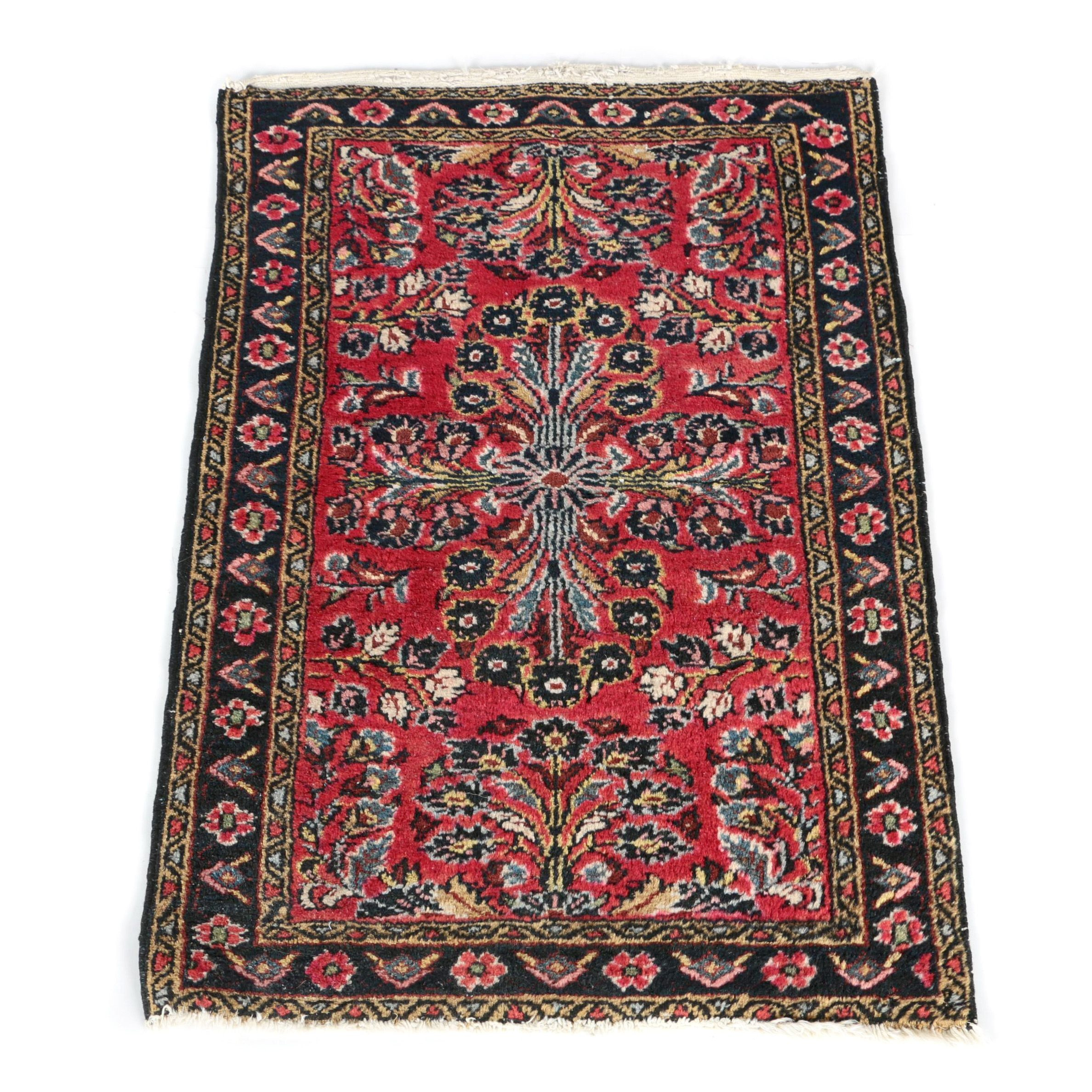 Vintage Hand-Knotted Persian Sarouk Accent Rug