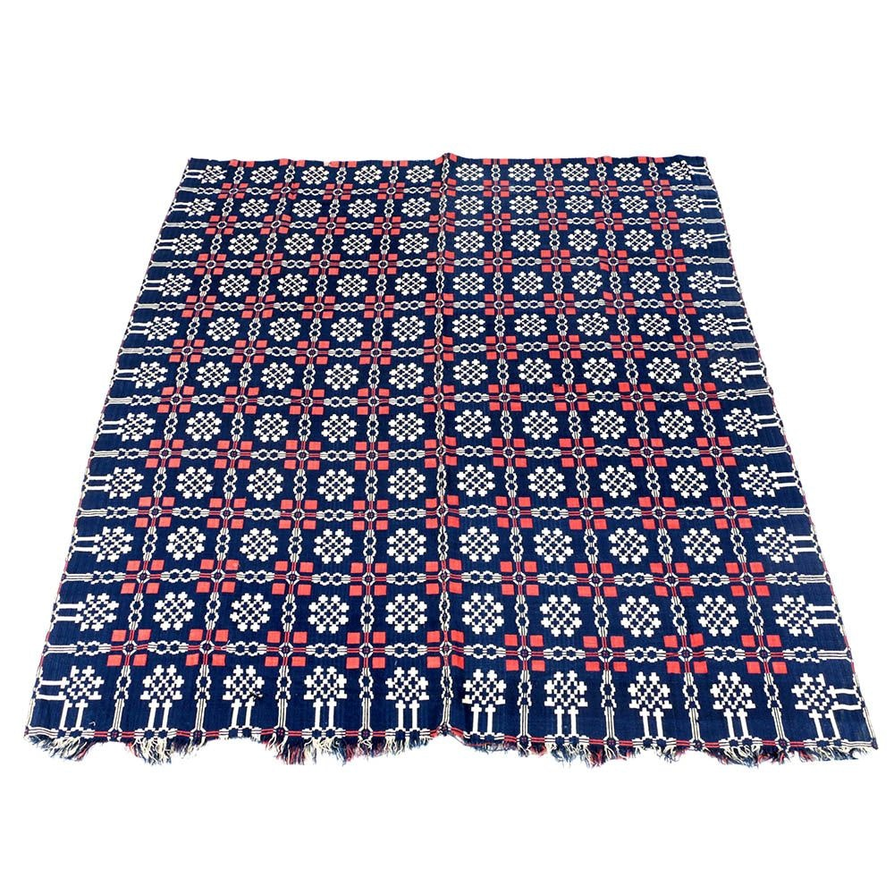 Antique 19th Century Red, Blue, And White Woven Wool Coverlet ...
