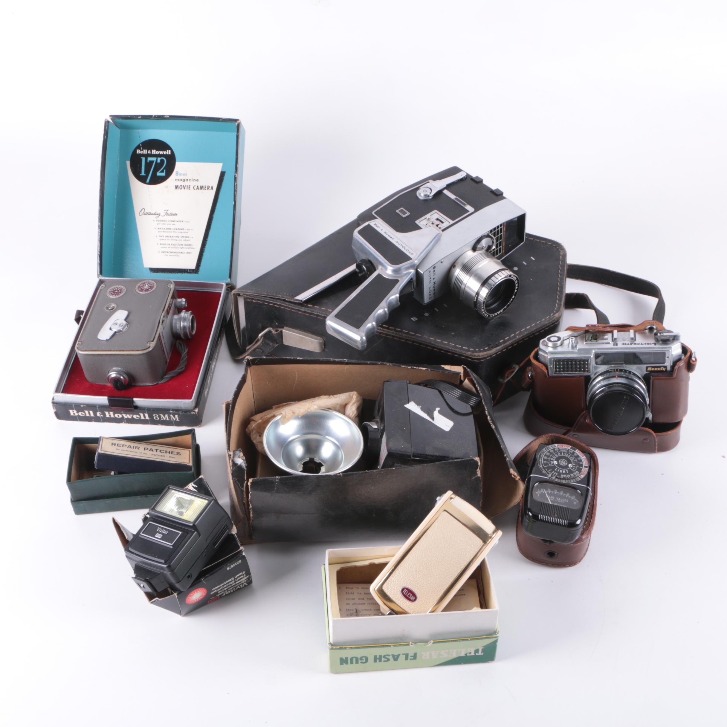 Vintage Cameras and Accessories Featuring Bell & Howell