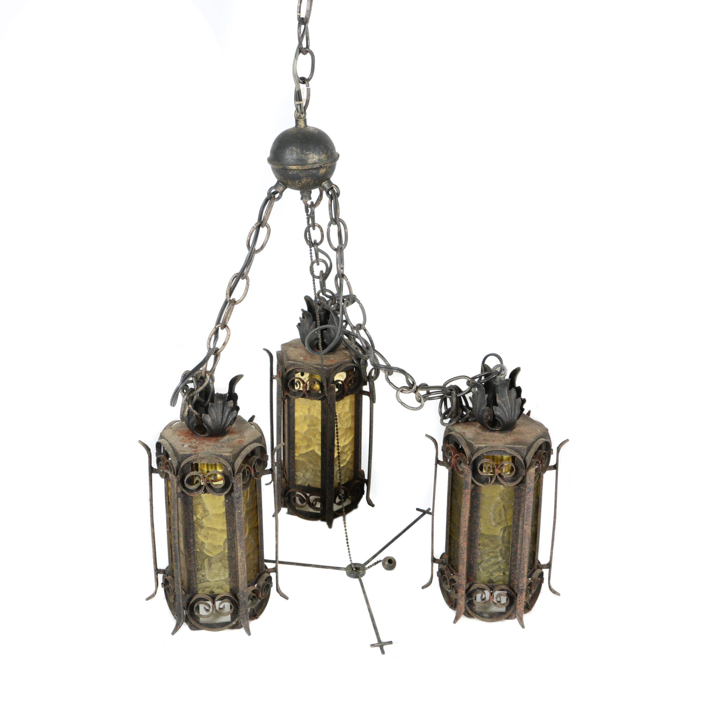 Glass Lantern Chandelier