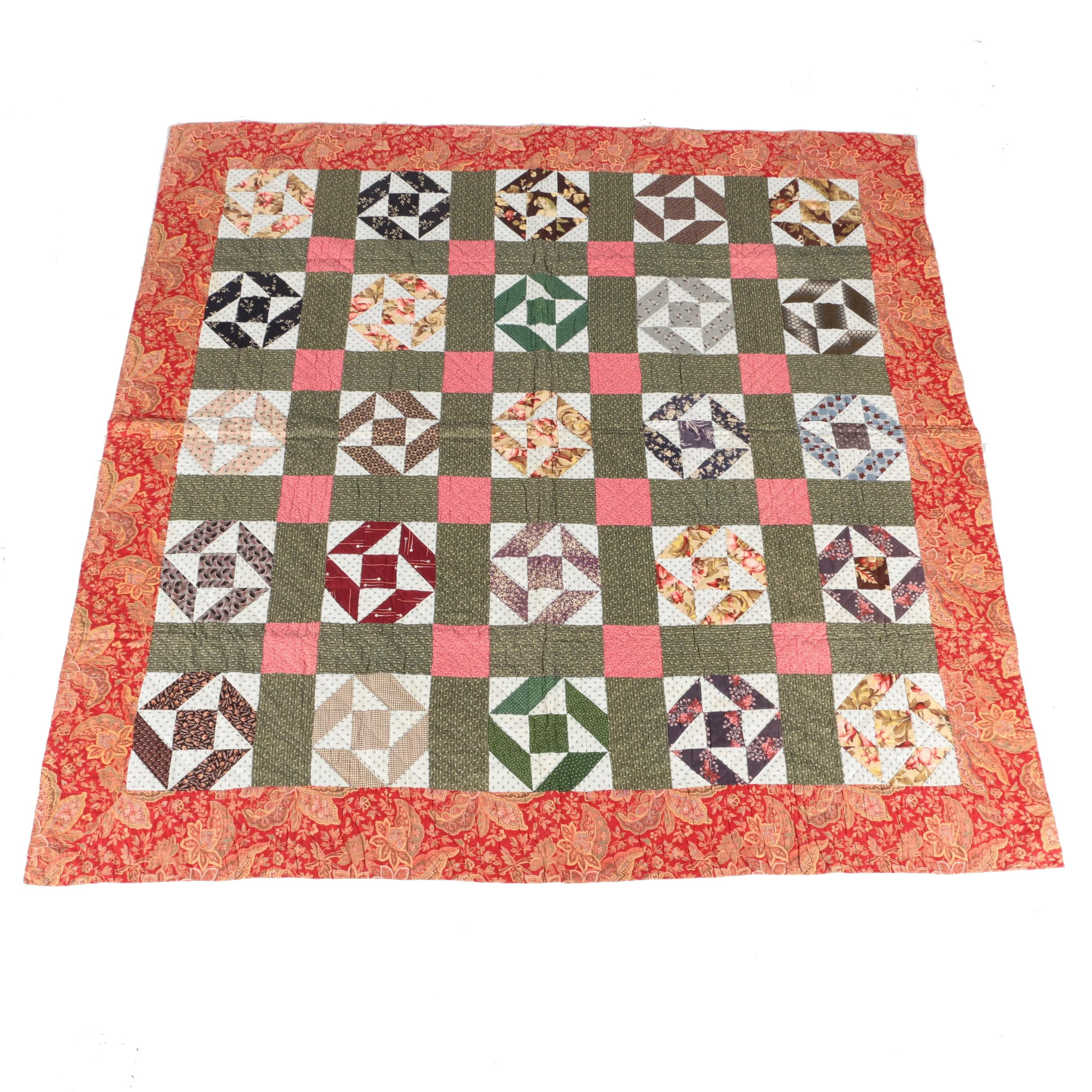 "Antique Handcrafted ""Eccentric Star Variation"" Quilt with Paisley Border"
