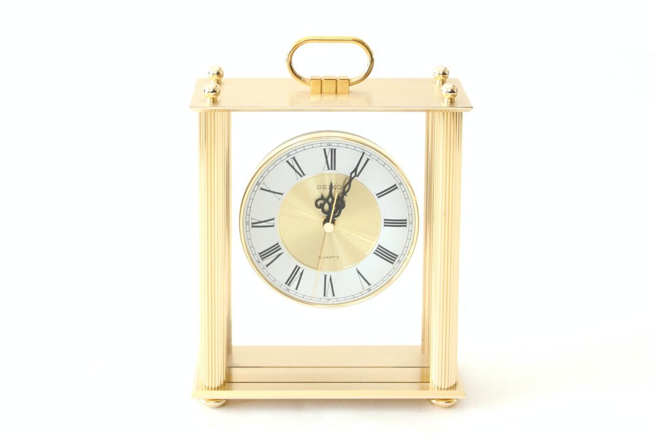 Seiko Brass Tone Carriage Clock