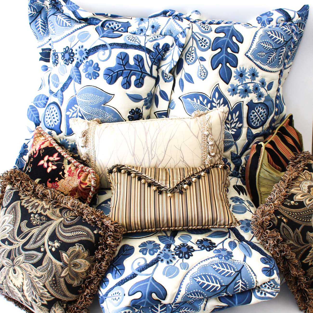 Assorted Bedding and Throw Pillows