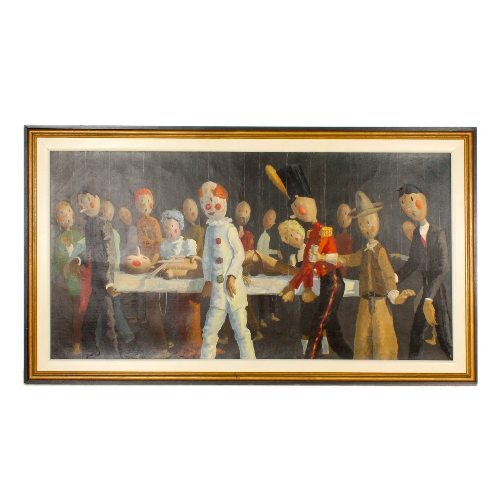 "Paul H. Rawley Oil Painting ""Funeral March for a Marionette"""