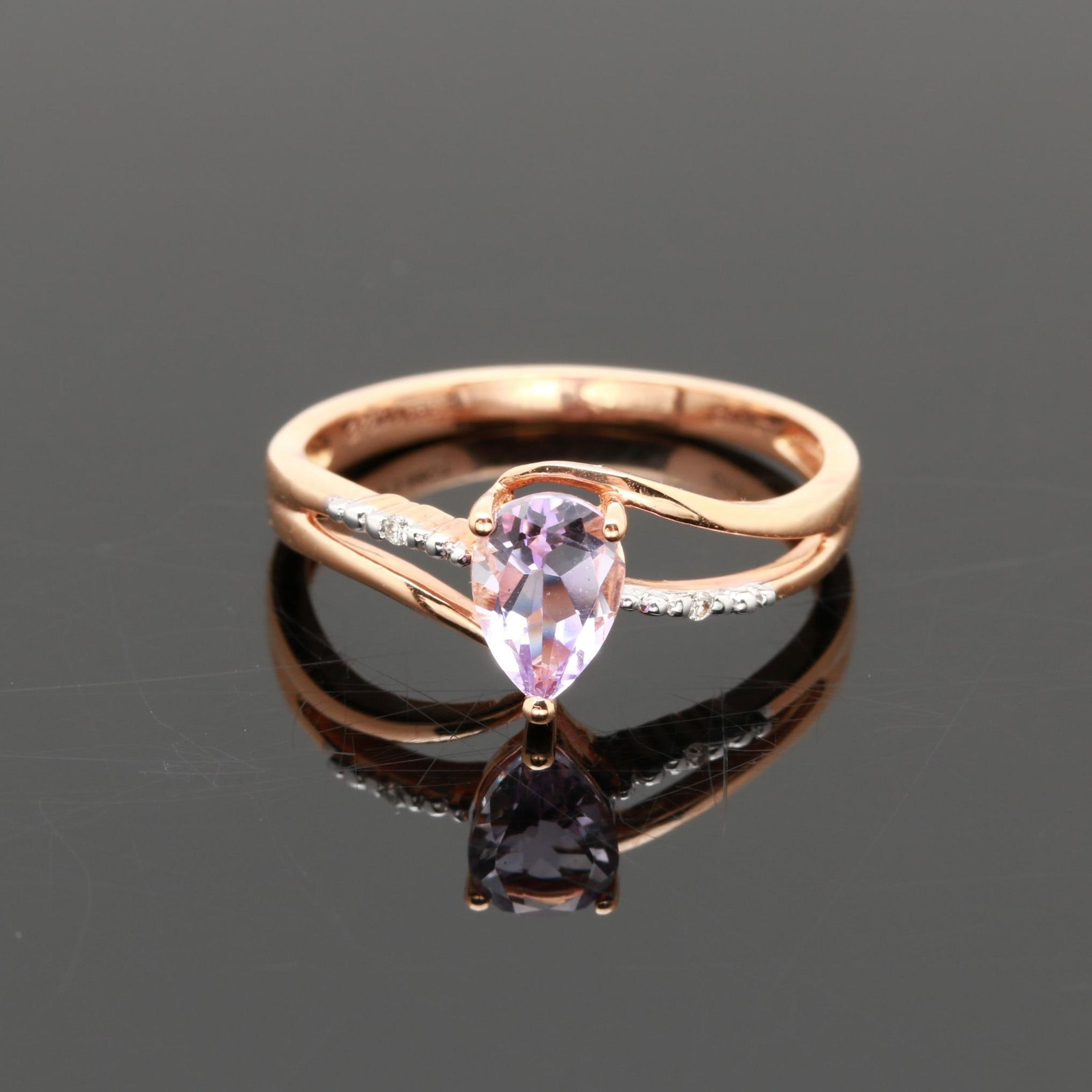 18K Rose Gold Amethyst and Diamond Bypass Ring