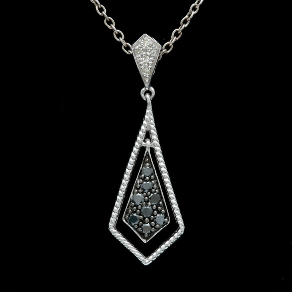 Sterling Silver, Black and White Diamond Pendant