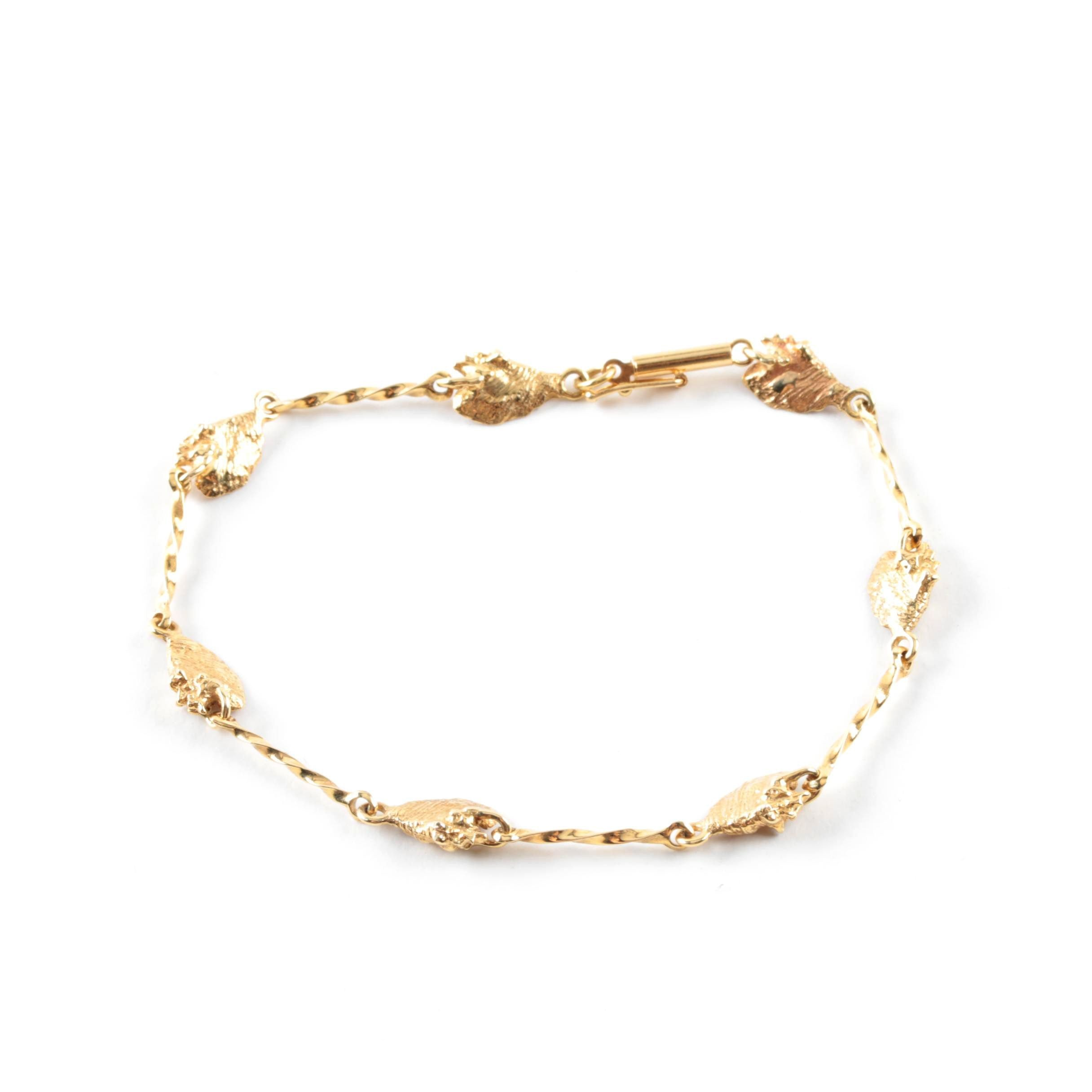 14K Yellow Gold Enamel Shell Bracelet