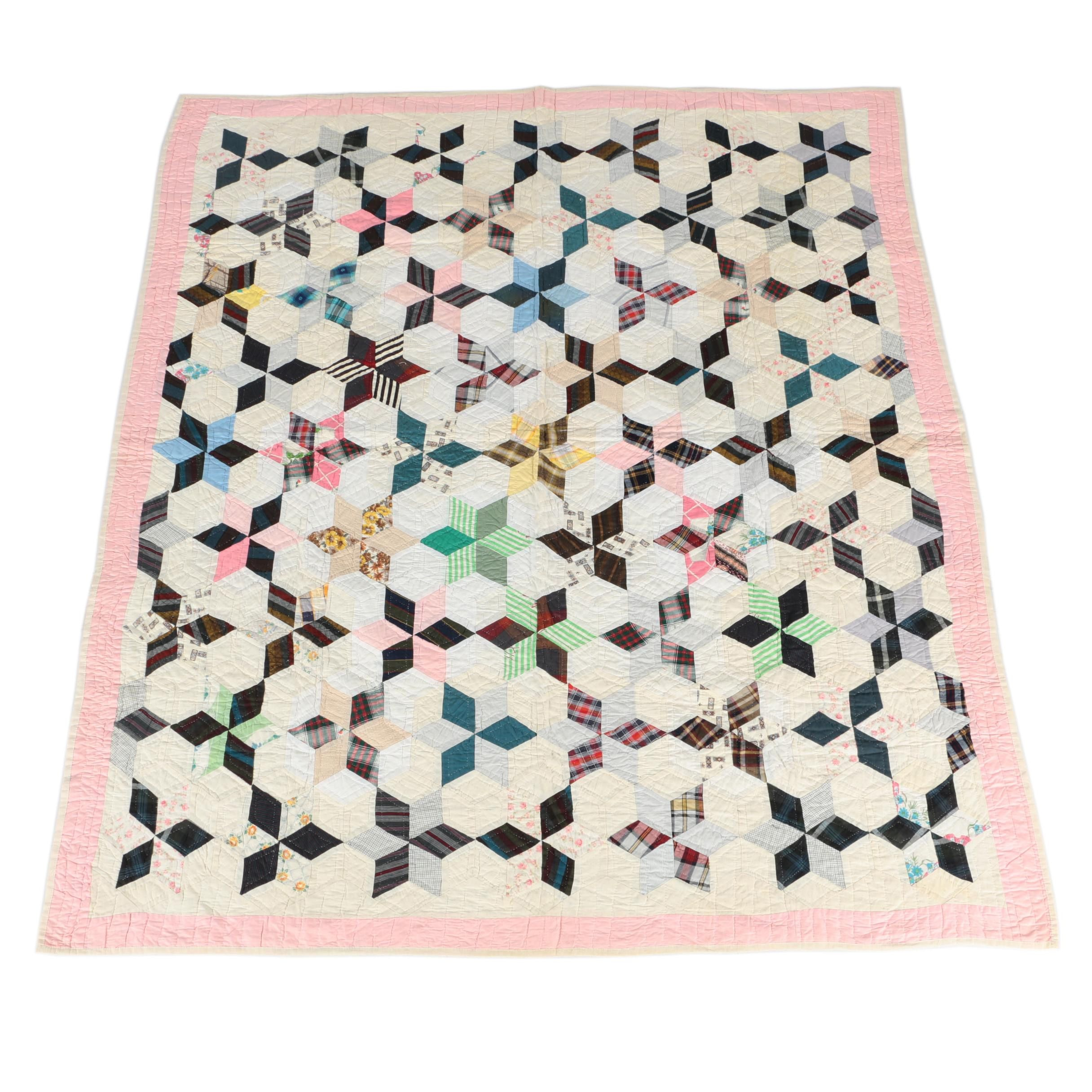 "Vintage Handcrafted ""Six Pointed Star"" Quilt"