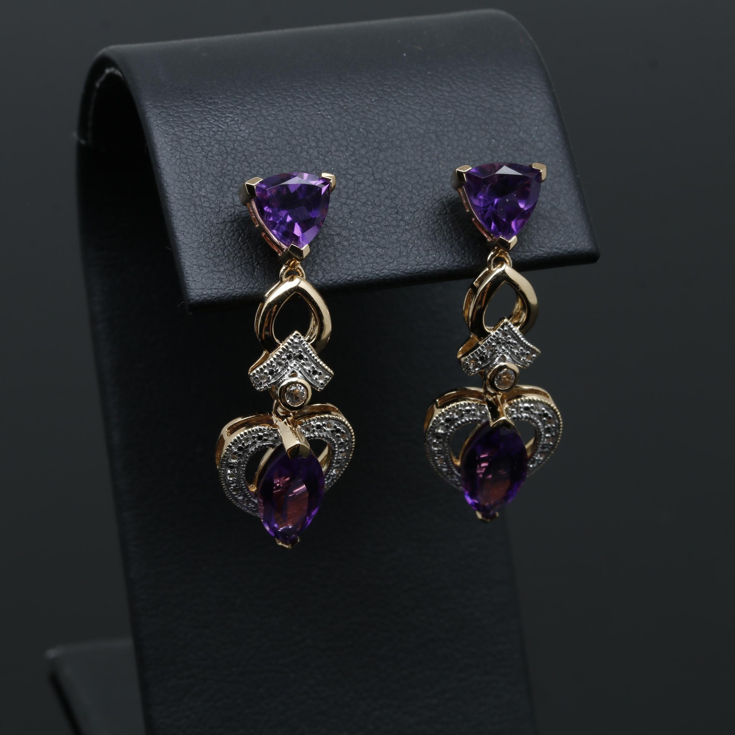 Gold Wash on Sterling Silver Amethyst and Topaz Drop Earrings