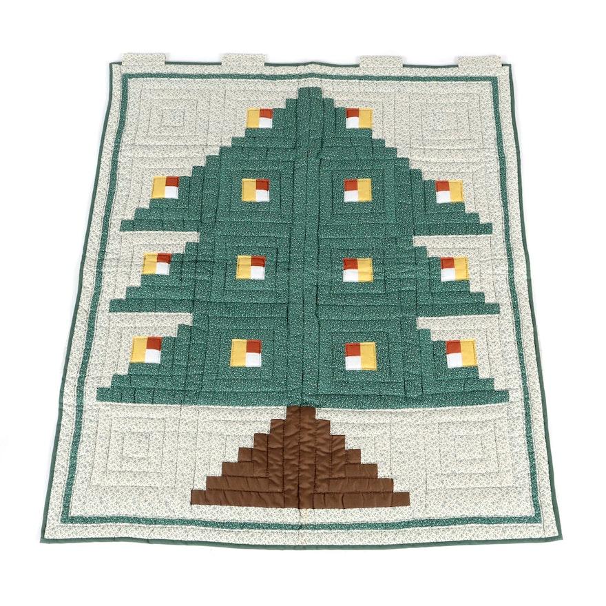 Log Cabin Christmas Tree Quilt.Vintage Log Cabin Christmas Tree Quilt