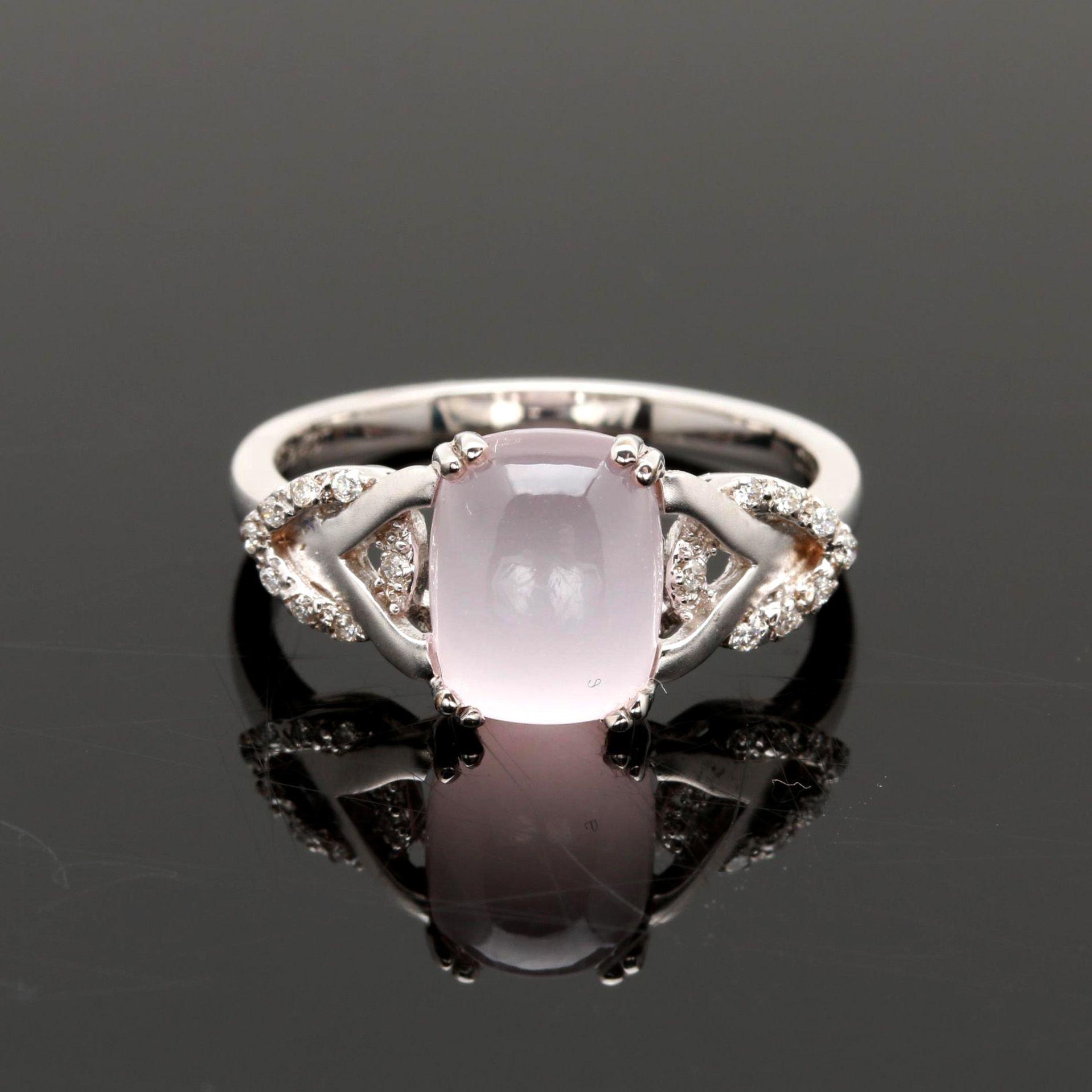 18K White Gold Rose Quartz and Diamond Ring
