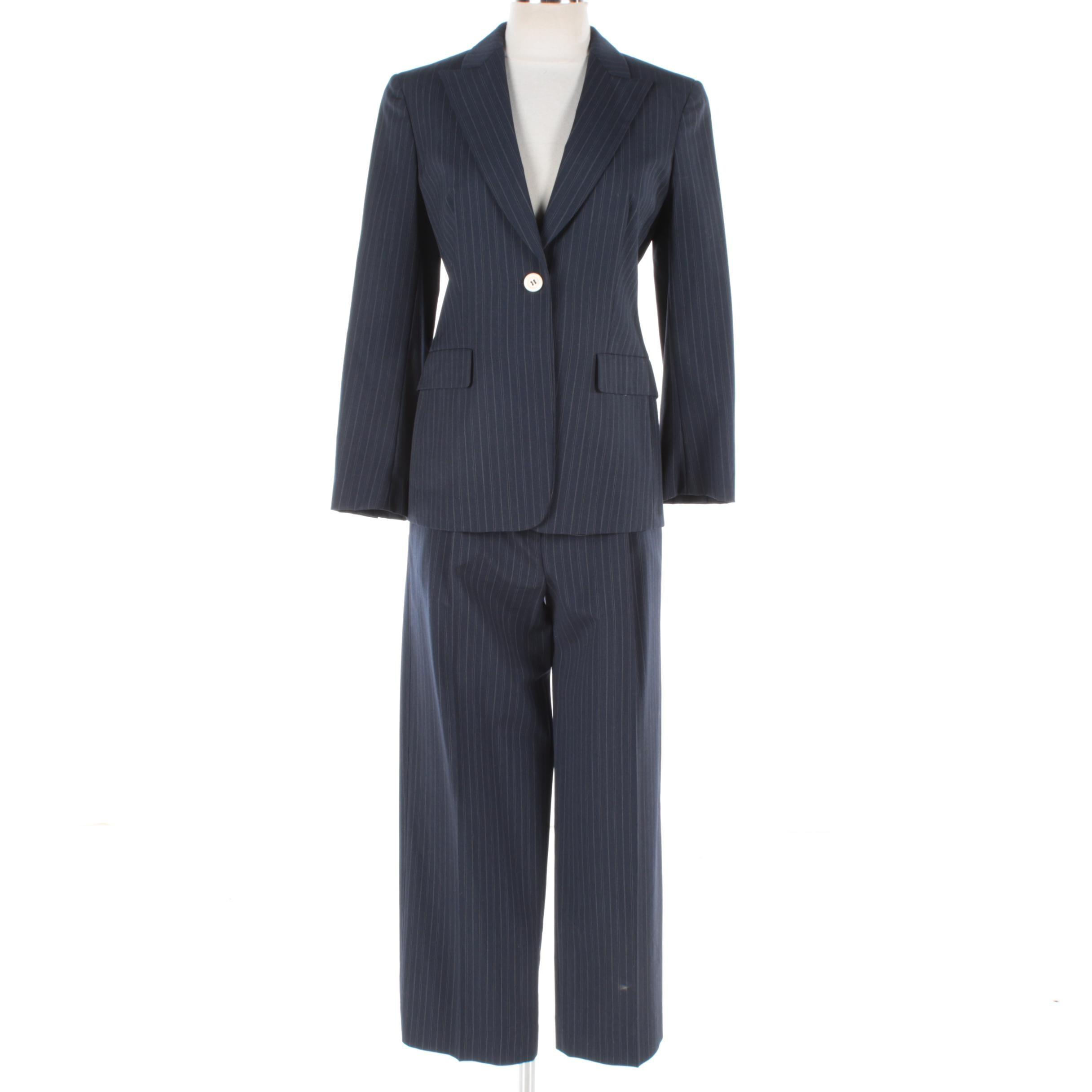 Women's Max Mara Navy Pinstripe Wool Pant Suit