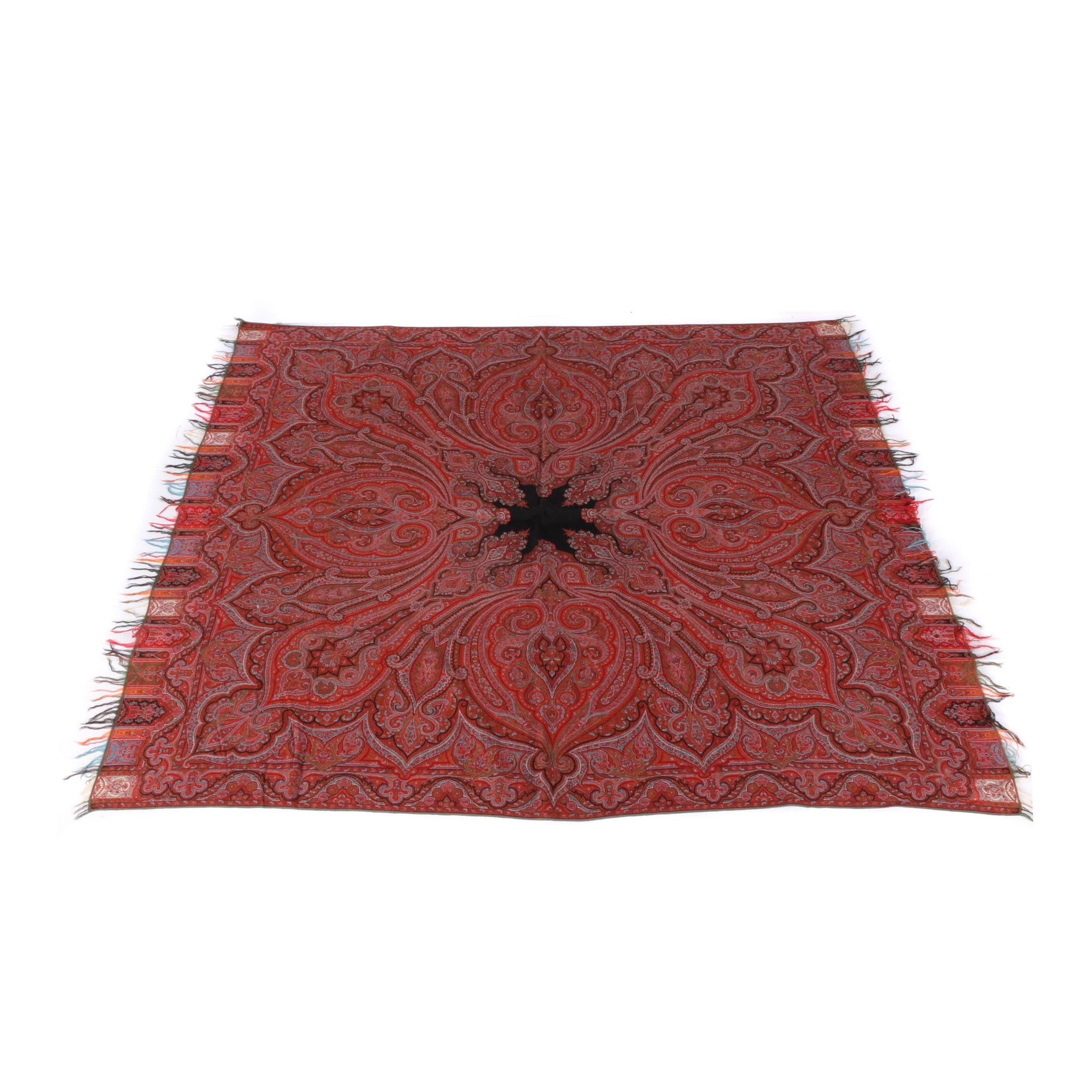 1800s European Woven Wool Paisley Shawl