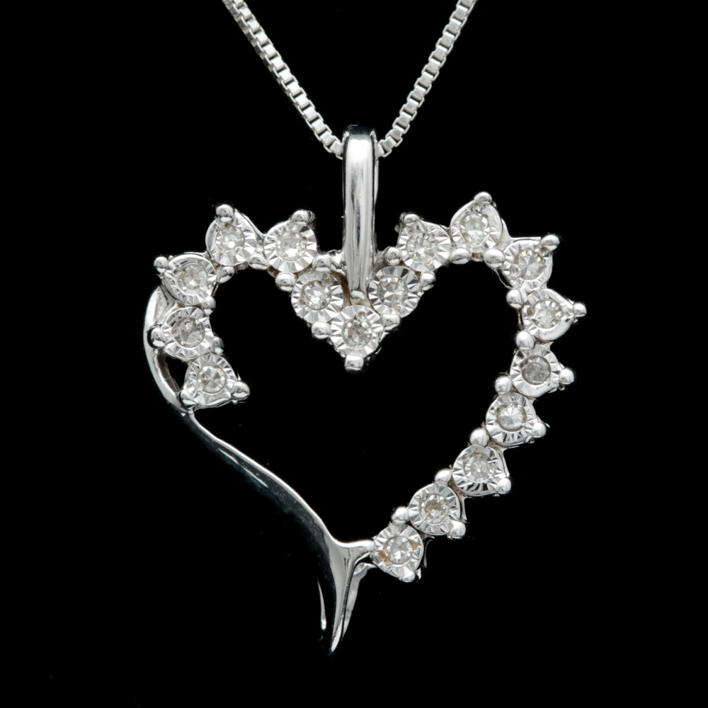Sterling Silver and Diamond Open Heart Pendant with Chain