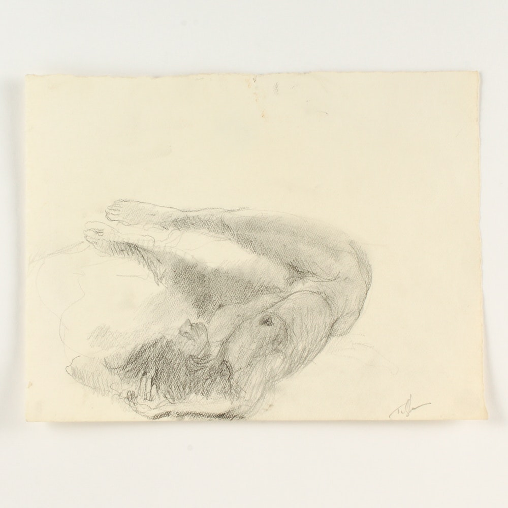 John Tuska Graphite Drawing on Paper of a Female Nude