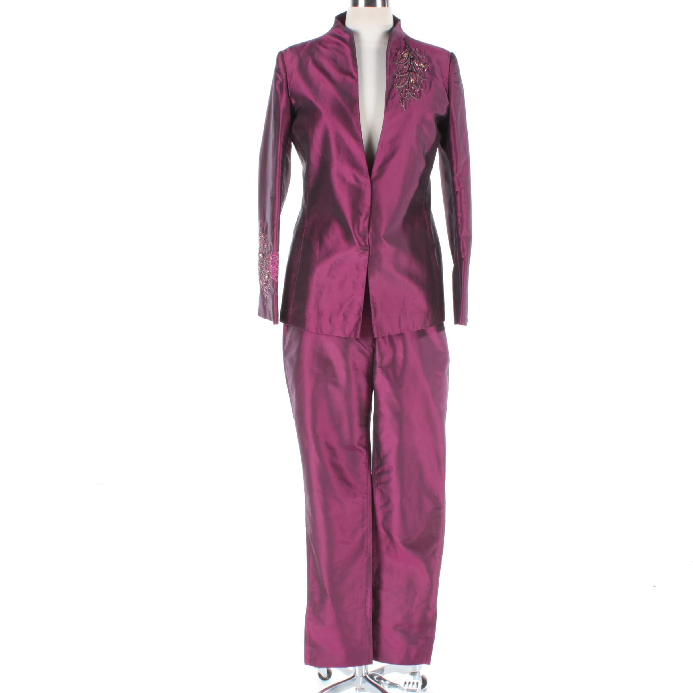 Women's Narendra Kumar Iridescent Satin Embellished Pantsuit