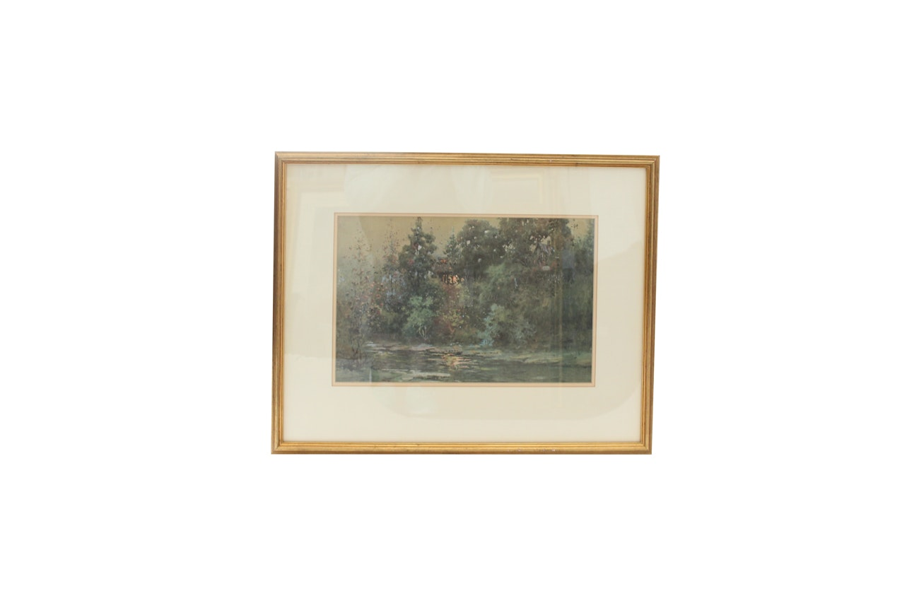 Offset Lithograph after Paul Sawyier Landscape Painting