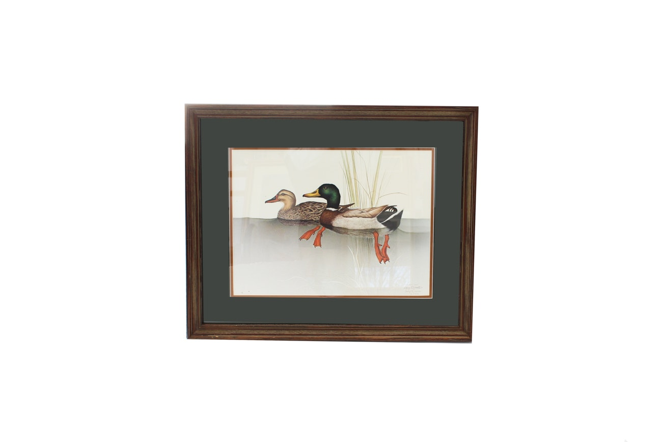Limited Edition Larry Martin Signed Offset Lithograph Of Mallards